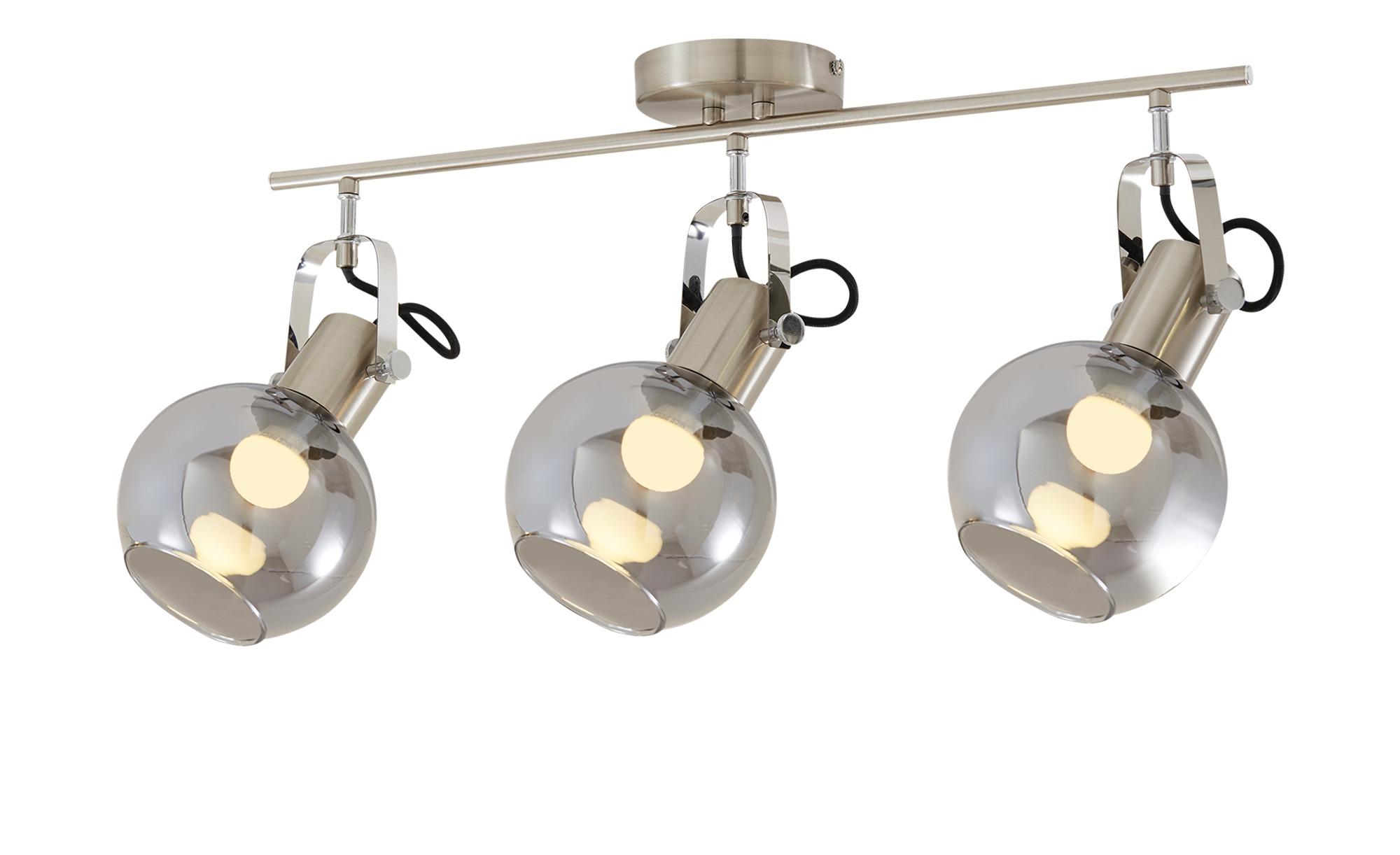 KHG Deckenleuchte, 3-flammig mit Rauchglas ¦ silber ¦ Maße (cm): B: 24,5 H: 23 Lampen & Leuchten > Innenleuchten > Deckenleuchten - Höffner