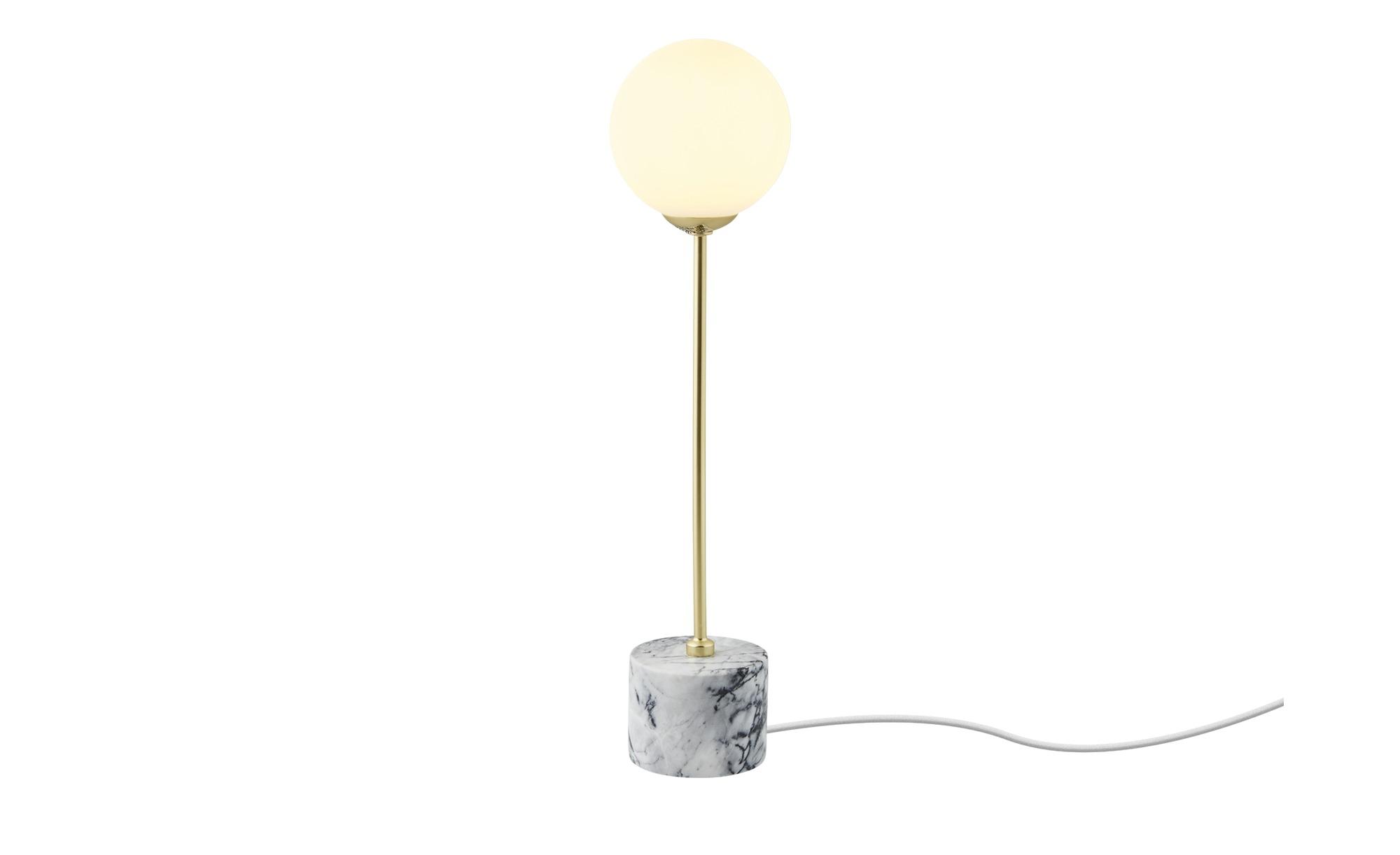 Tischleuchte, 1-flammig, Marmorfuß ¦ gold ¦ Maße (cm): H: 40 Ø: 10 Lampen & Leuchten > Innenleuchten > Tischlampen - Höffner