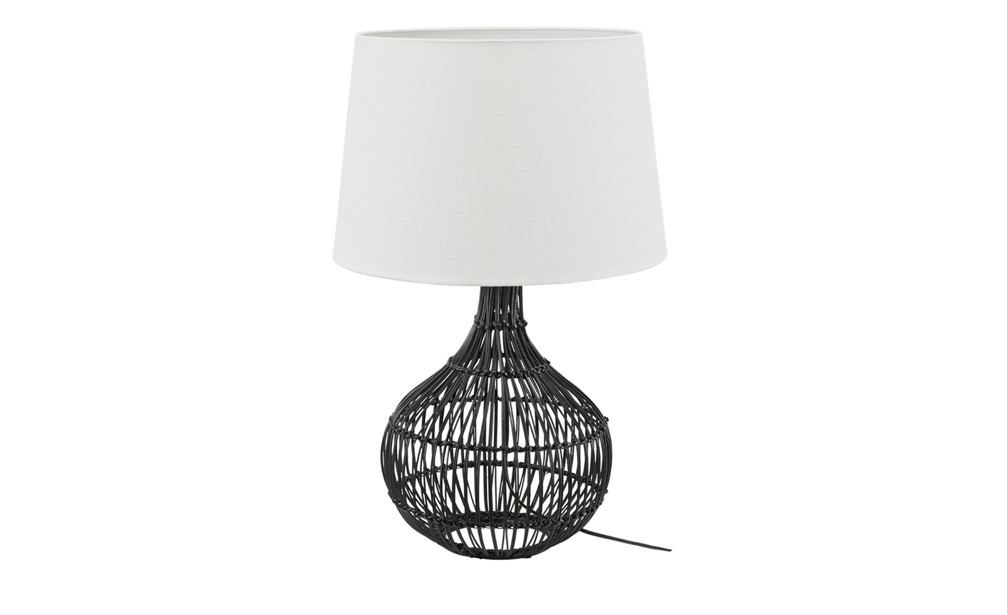 KHG Tischleuchte, 1-flammig, Rattan-schwarz ¦ schwarz ¦ Maße (cm): H: 60 Ø: 38 Lampen & Leuchten > Innenleuchten > Tischlampen - Höffner