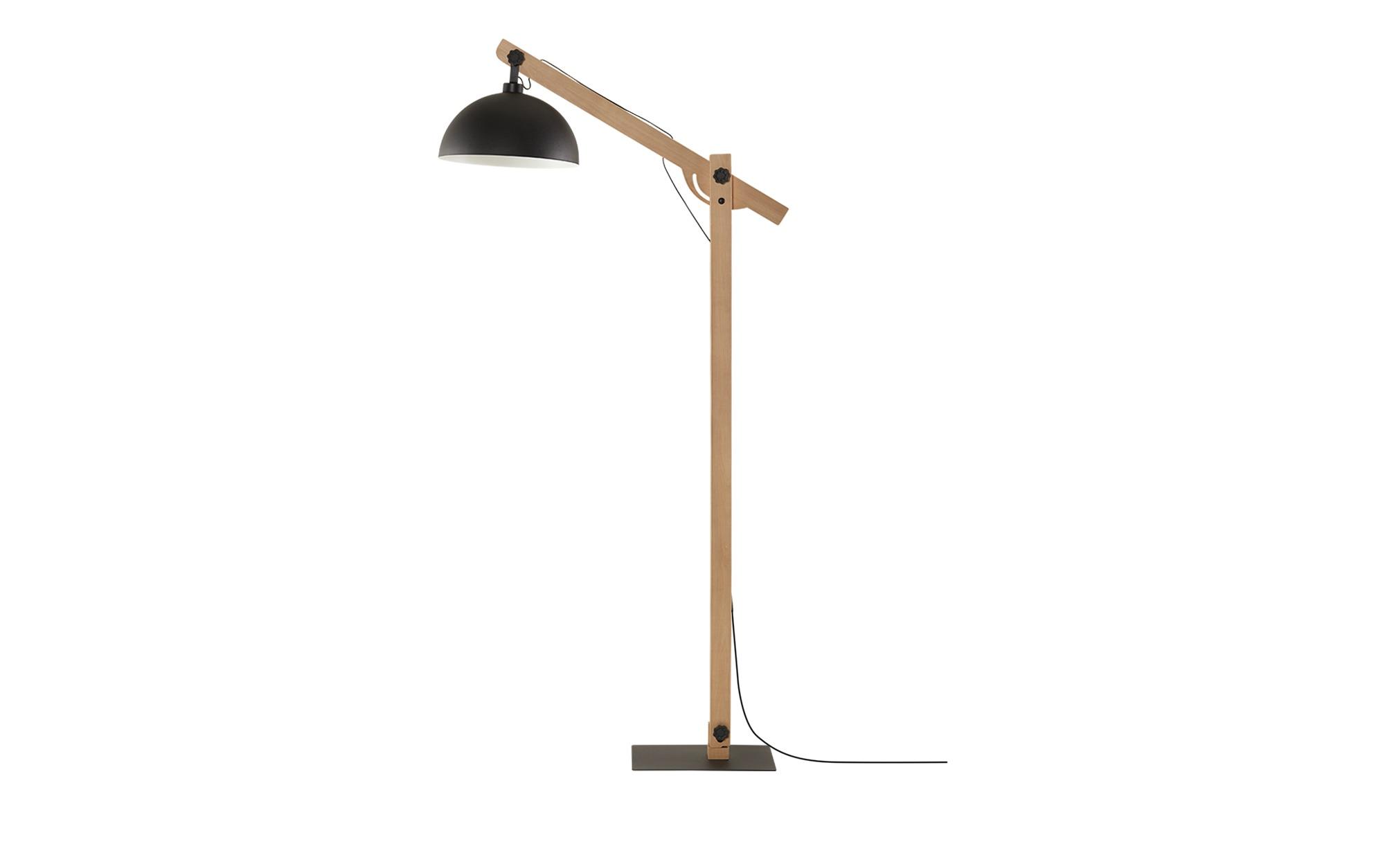 Stehleuchte, 1-flammig, Metall schwarz/ Holz ¦ schwarz ¦ Maße (cm): H: 173 Lampen & Leuchten > Innenleuchten > Stehlampen - Höffner
