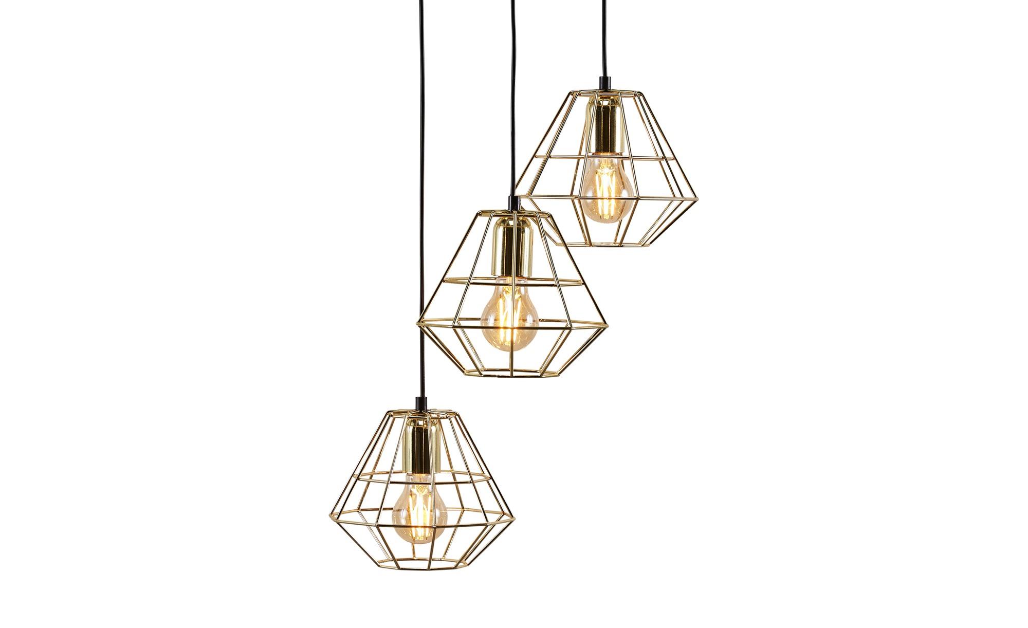 Pendelleuchte, 3-flammig, gold/schwarz ¦ gold ¦ Maße (cm): H: 140 Ø: 43 Lampen & Leuchten > Innenleuchten > Pendelleuchten - Höffner