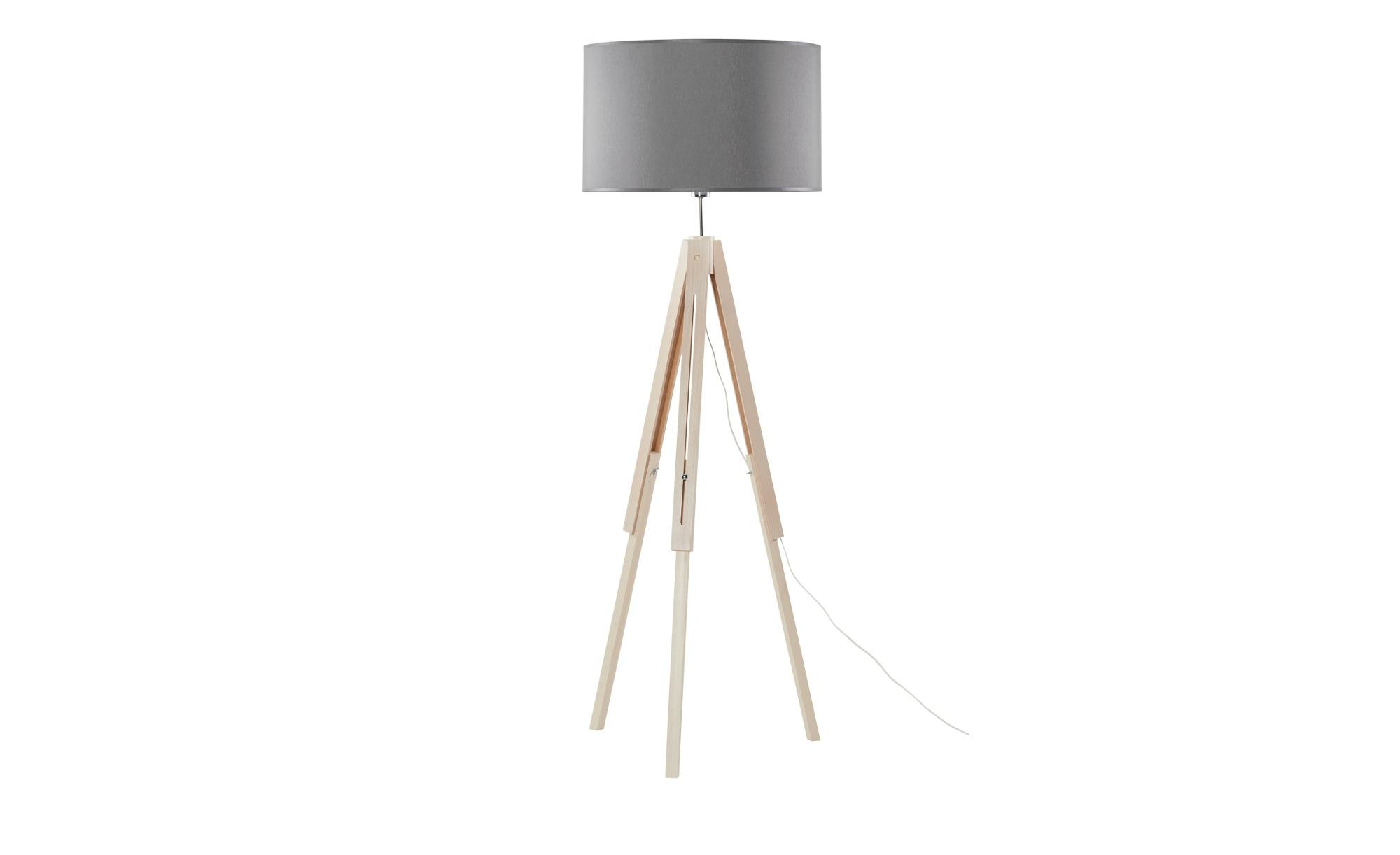Stehleuchte, 1-flammig, Stoffschirm grau ¦ holzfarben ¦ Maße (cm): H: 137 Ø: 50 Lampen & Leuchten > Innenleuchten > Stehlampen - Höffner