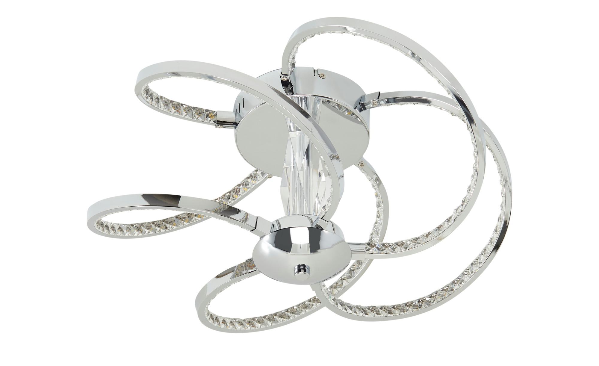 KHG LED-Deckenleuchte, 5-flammig, chrom/ Kristallglas ¦ silber ¦ Maße (cm): H: 20 Ø: 48 Lampen & Leuchten > Innenleuchten > Deckenleuchten - Höffner