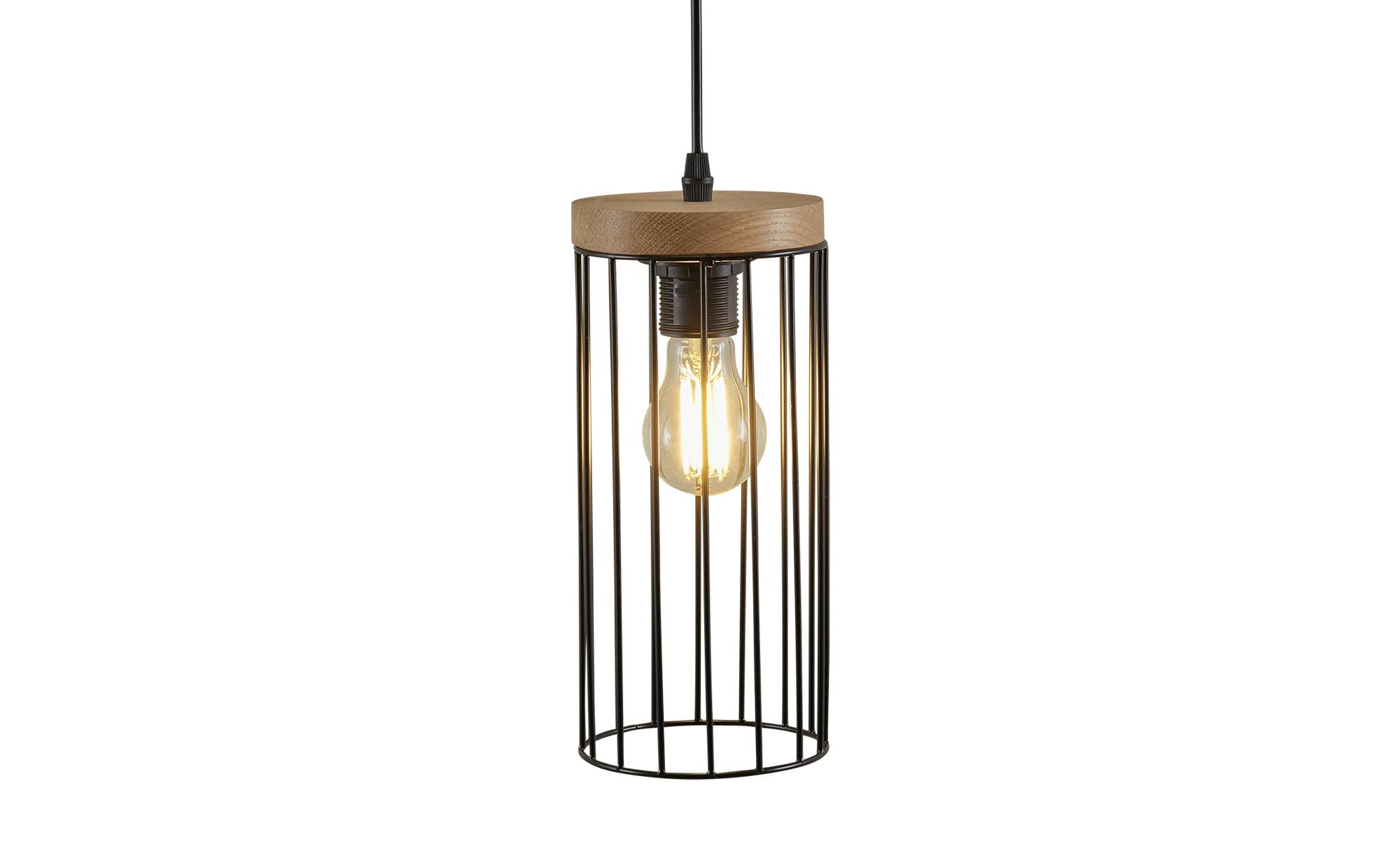 Pendelleuchte, 1-flammig, Eiche/Metall schwarz ¦ holzfarben ¦ Maße (cm): H: 110 Ø: 12 Lampen & Leuchten > Innenleuchten > Pendelleuchten - Höffner