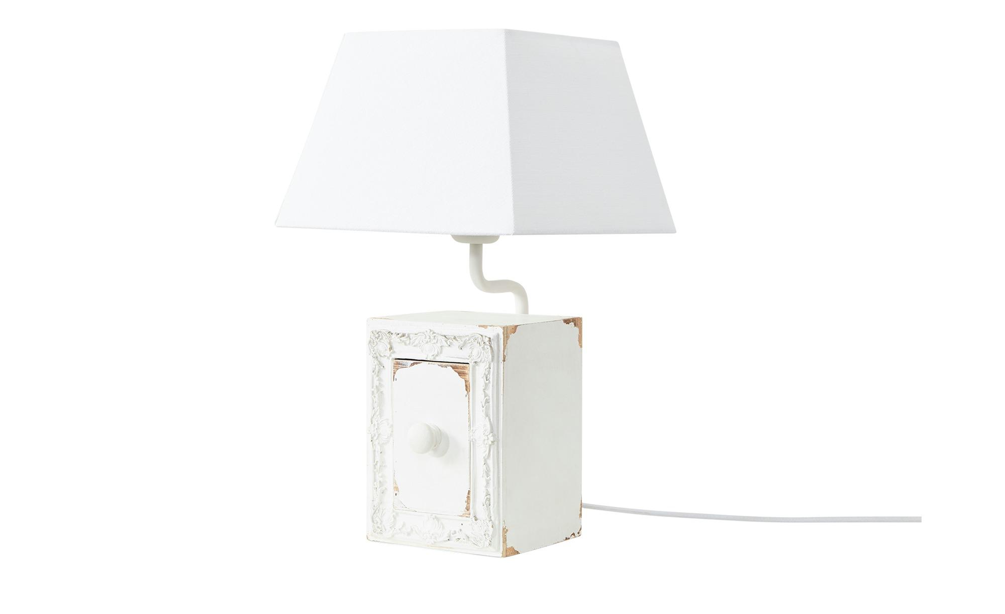 Tischleuchte, 1-flammig, weiß mit Schublade ¦ weiß ¦ Maße (cm): H: 44 Lampen & Leuchten > Innenleuchten > Tischlampen - Höffner