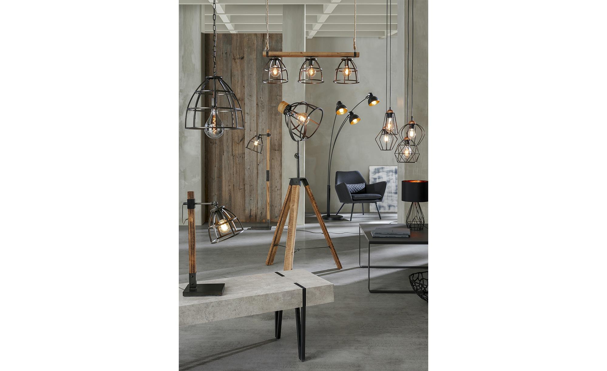 Stehleuchte, 1-flammig, Holz/ Metall schwarz ¦ schwarz ¦ Maße (cm): H: 140 Lampen & Leuchten > Innenleuchten > Stehlampen - Höffner