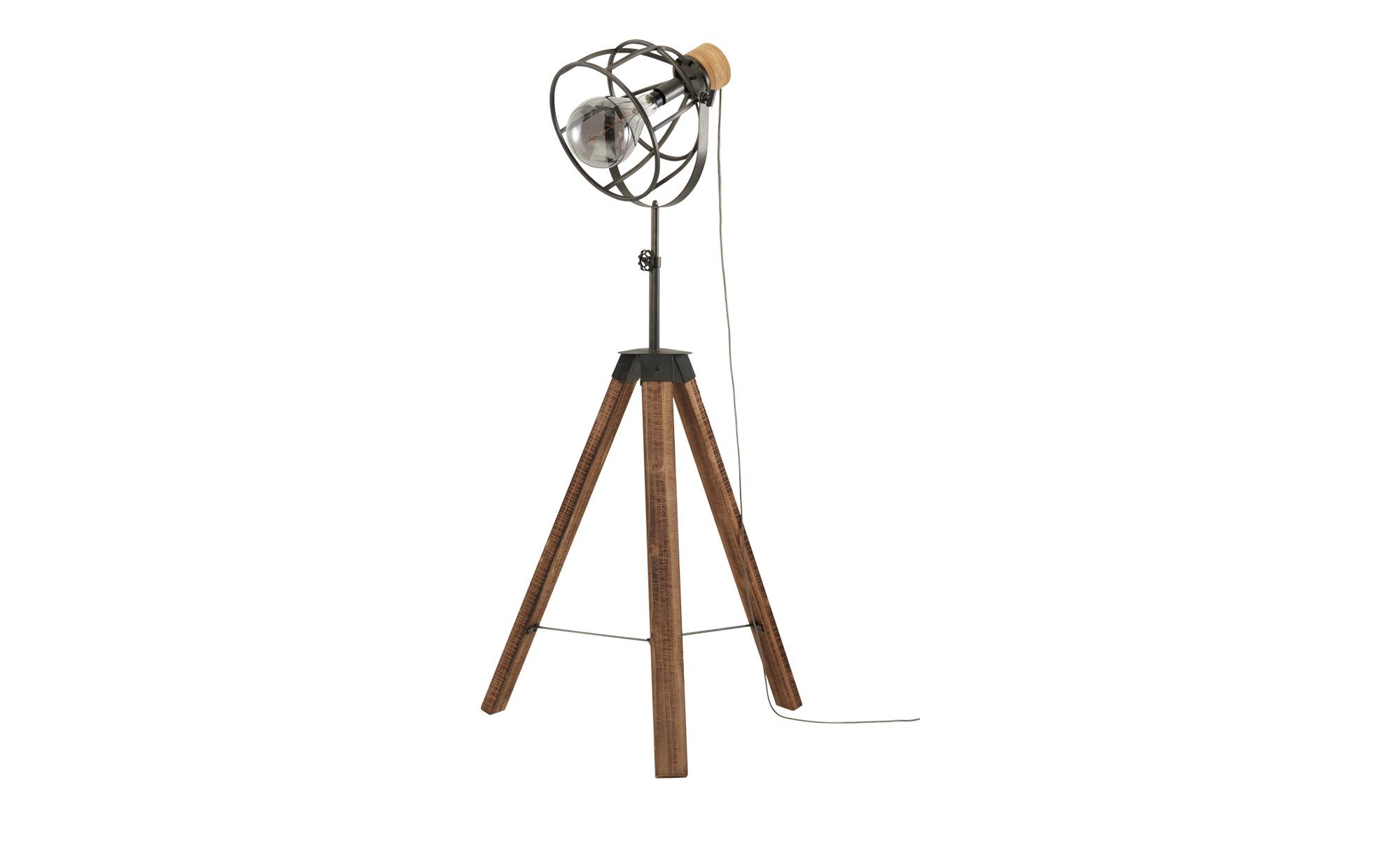 Stehleuchte, 1-flammig, Holz/Metall ¦ schwarz ¦ Maße (cm): H: 160 Lampen & Leuchten > Innenleuchten > Stehlampen - Höffner