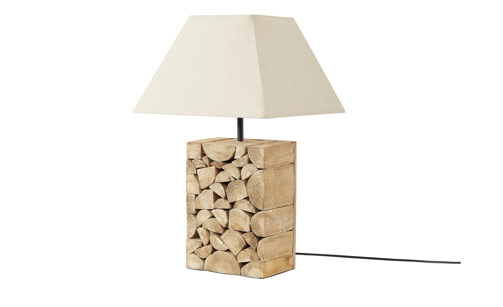 Tischleuchte, 1-flammig, Fuß in Brennholzoptik ´groß´ ¦ holzfarben ¦ Maße (cm): B: 30 H: 49 T: 30 Lampen & Leuchten > Innenleuchten > Tischlampen - Höffner