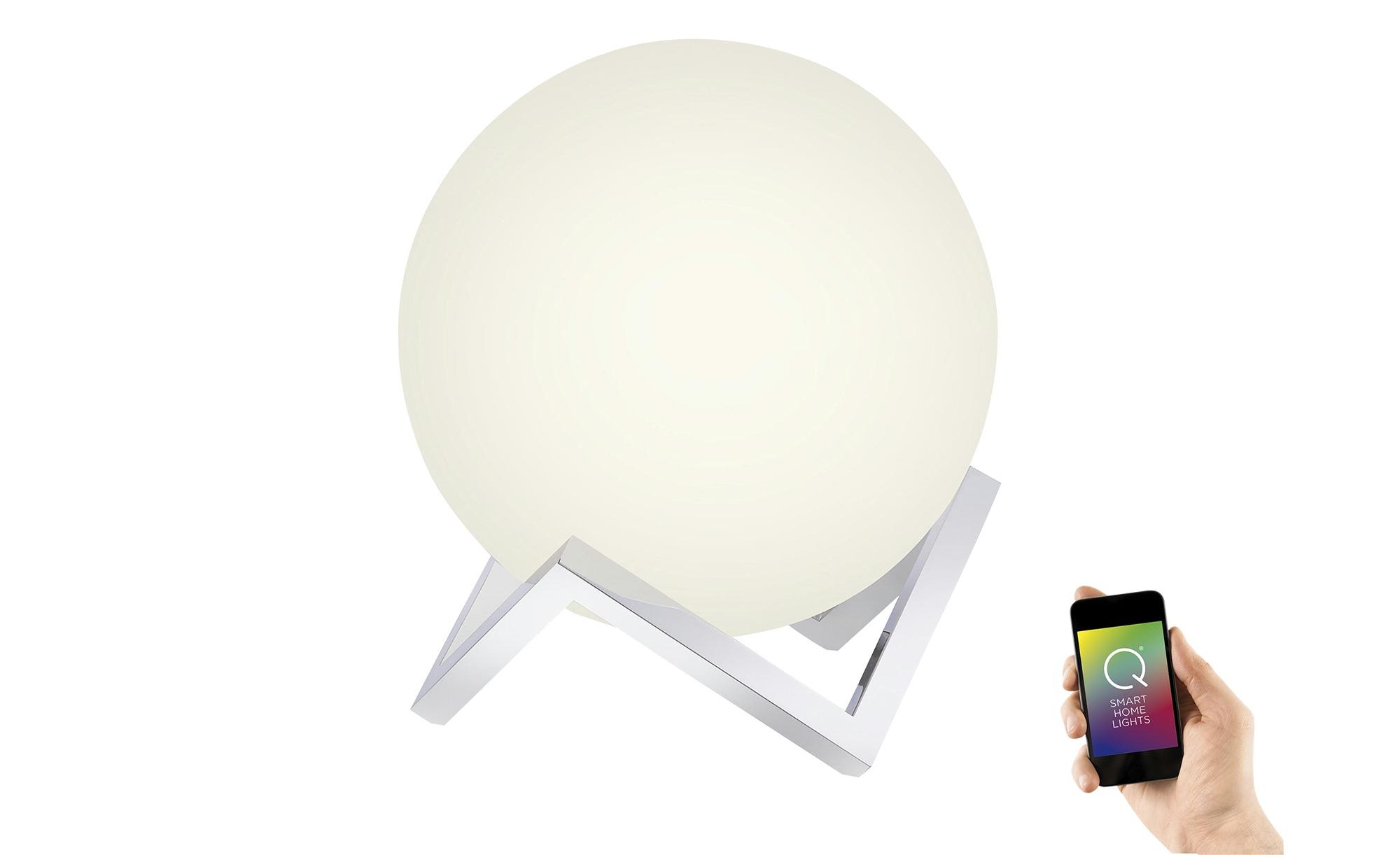 Q-Smart Home Lights Tischleuchte, Glas Kugel ¦ silber ¦ Maße (cm): H: 35 Ø: 30 Lampen & Leuchten > Innenleuchten > Tischlampen - Höffner