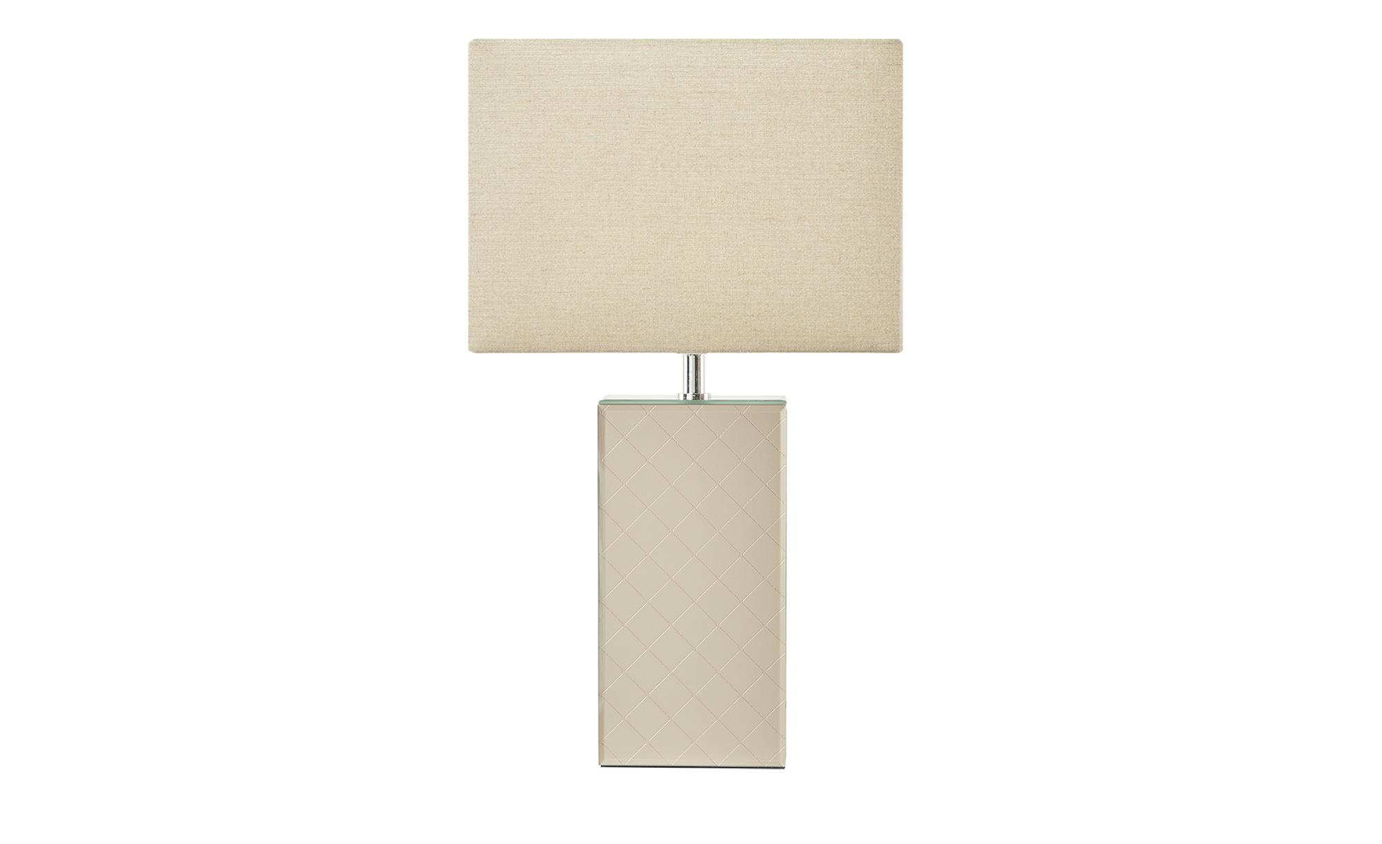 Fischer-Honsel Keramik-Tischleuchte, 1-flammig, verspiegelt groß ¦ beige ¦ Maße (cm): B: 13 H: 51 Lampen & Leuchten > Innenleuchten > Tischlampen - Höffner