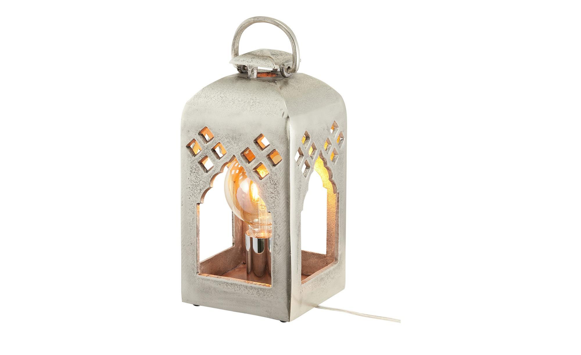 Fischer-Honsel Tischleuchte `Laterne´nickel antik, klein ¦ silber ¦ Maße (cm): B: 15,5 H: 32 Lampen & Leuchten > Innenleuchten > Tischlampen - Höffner