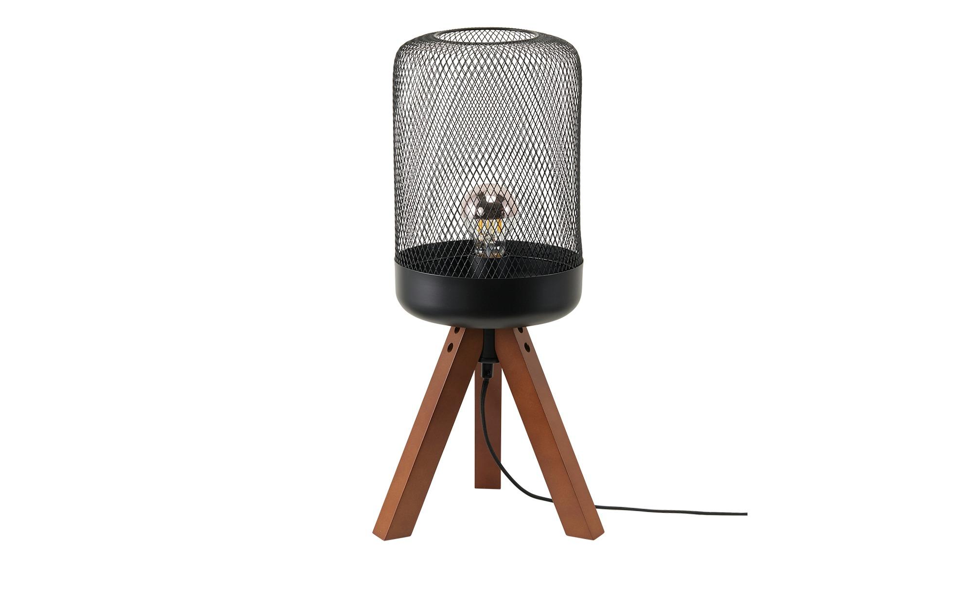 Tischleuchte, 1-flammig, Metallkorb/Holz ¦ schwarz ¦ Maße (cm): H: 50 Ø: 19 Lampen & Leuchten > Innenleuchten > Tischlampen - Höffner
