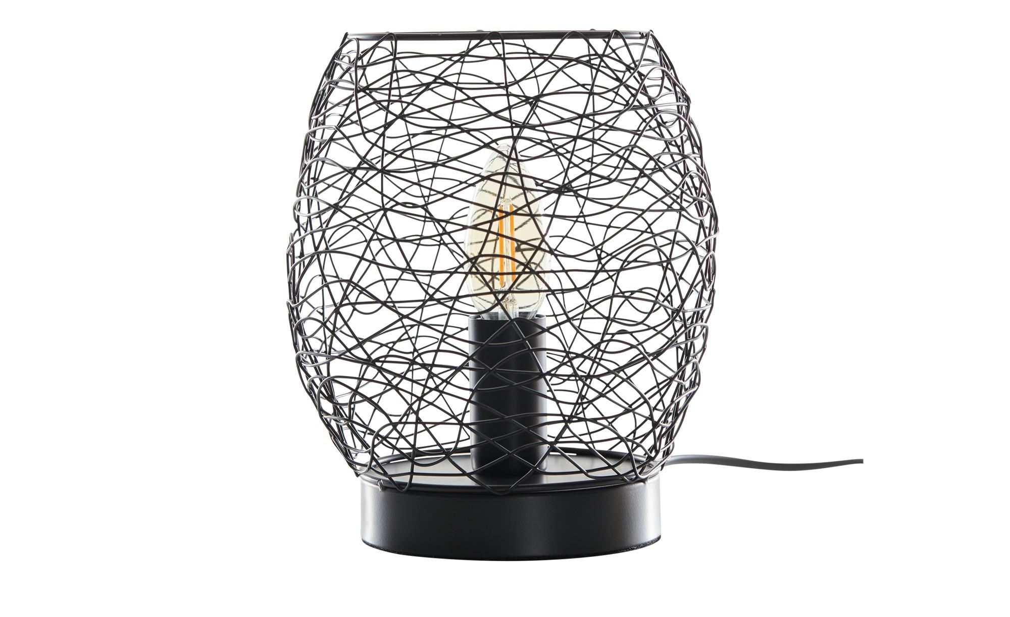 Tischleuchte, 1-flammig, Drahtoptik schwarz ¦ schwarz ¦ Maße (cm): H: 20 Ø: 16 Lampen & Leuchten > Innenleuchten > Tischlampen - Höffner