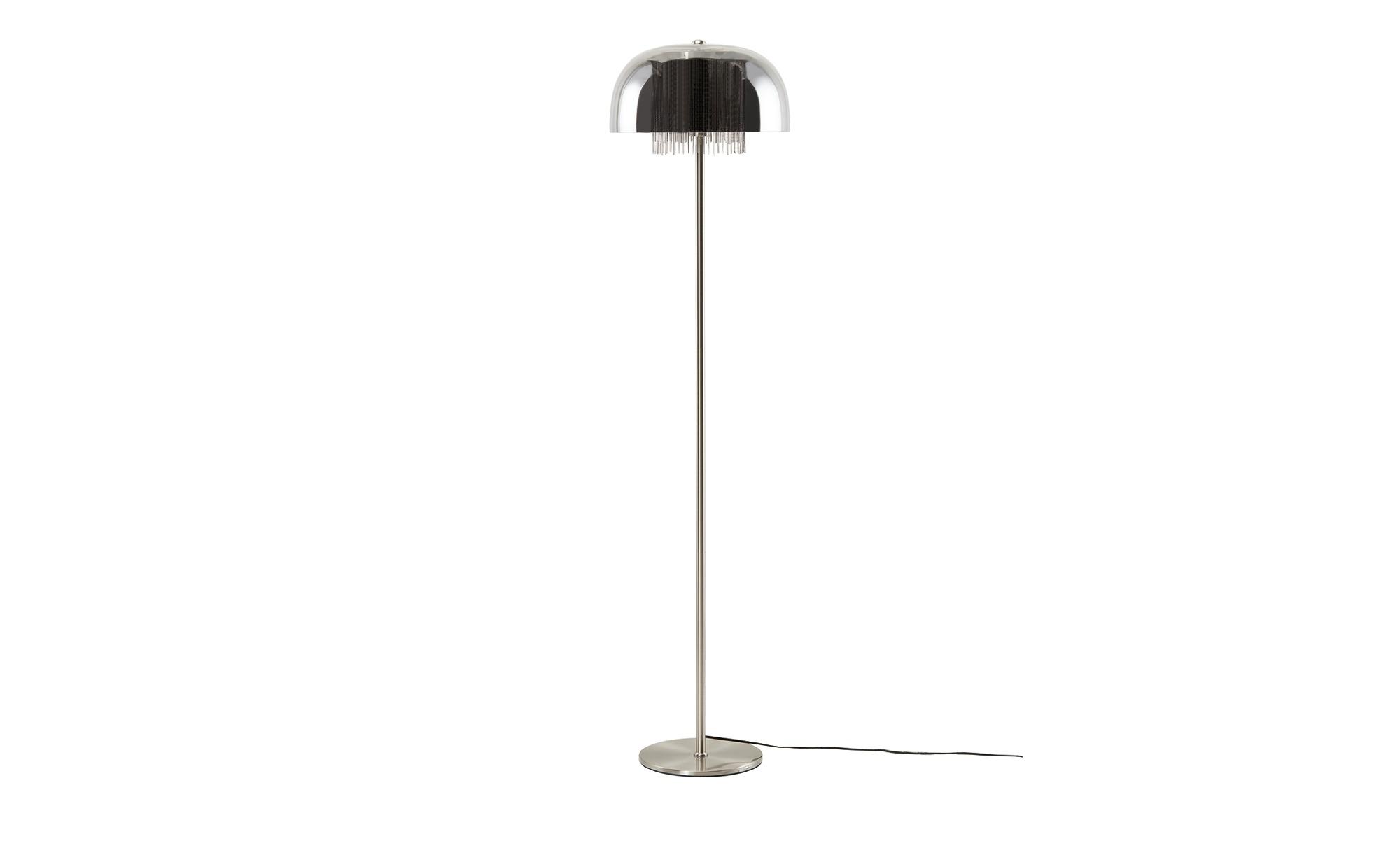 Stehleuchte, 1-flammig, Rauchglas mit Behang ¦ silber ¦ Maße (cm): H: 146 Ø: 37 Lampen & Leuchten > Innenleuchten > Stehlampen - Höffner