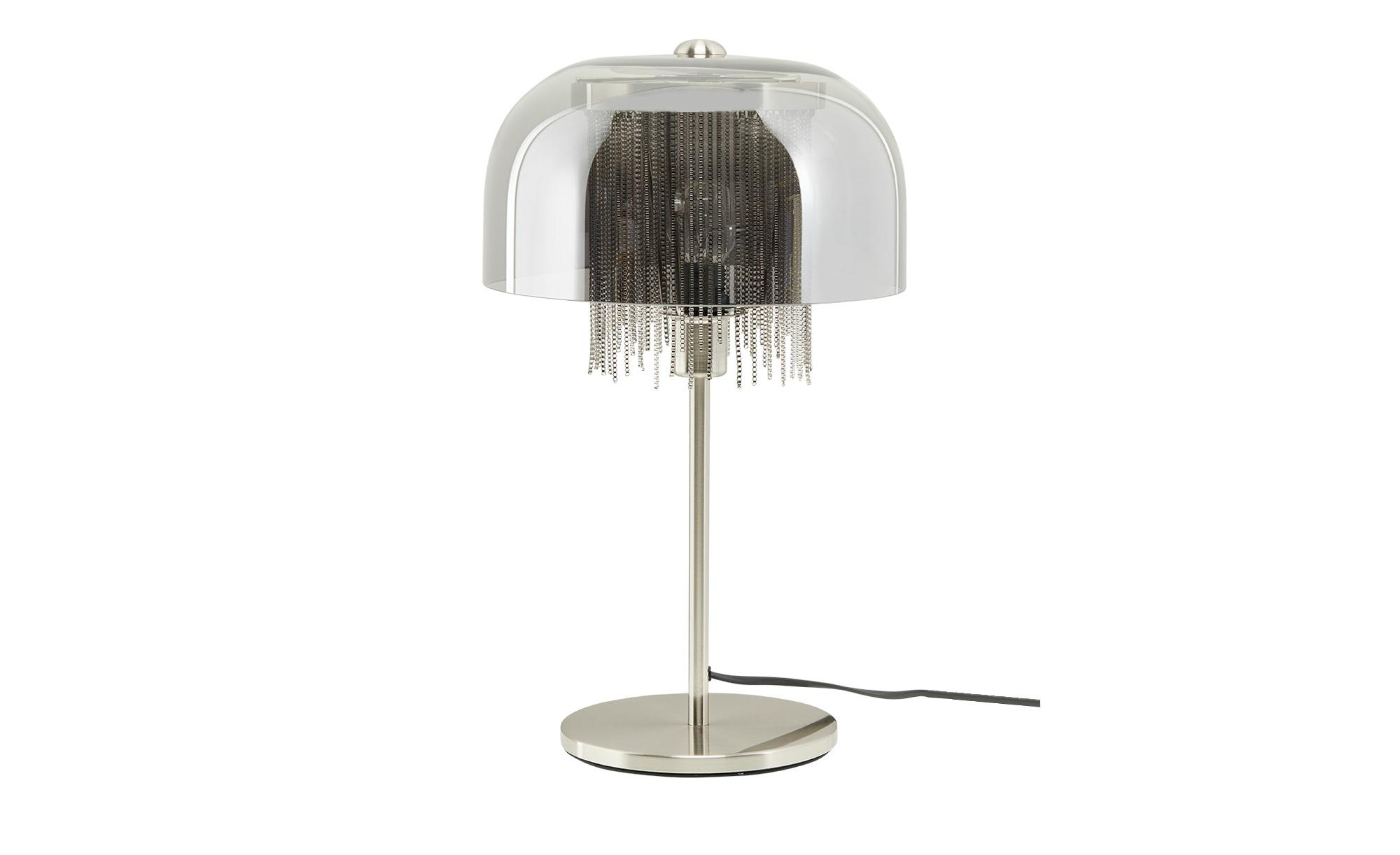 Tischleuchte, 1-flammig, Rauchglas mit Behang ¦ silber ¦ Maße (cm): H: 23 Ø: 37 Lampen & Leuchten > Innenleuchten > Tischlampen - Höffner