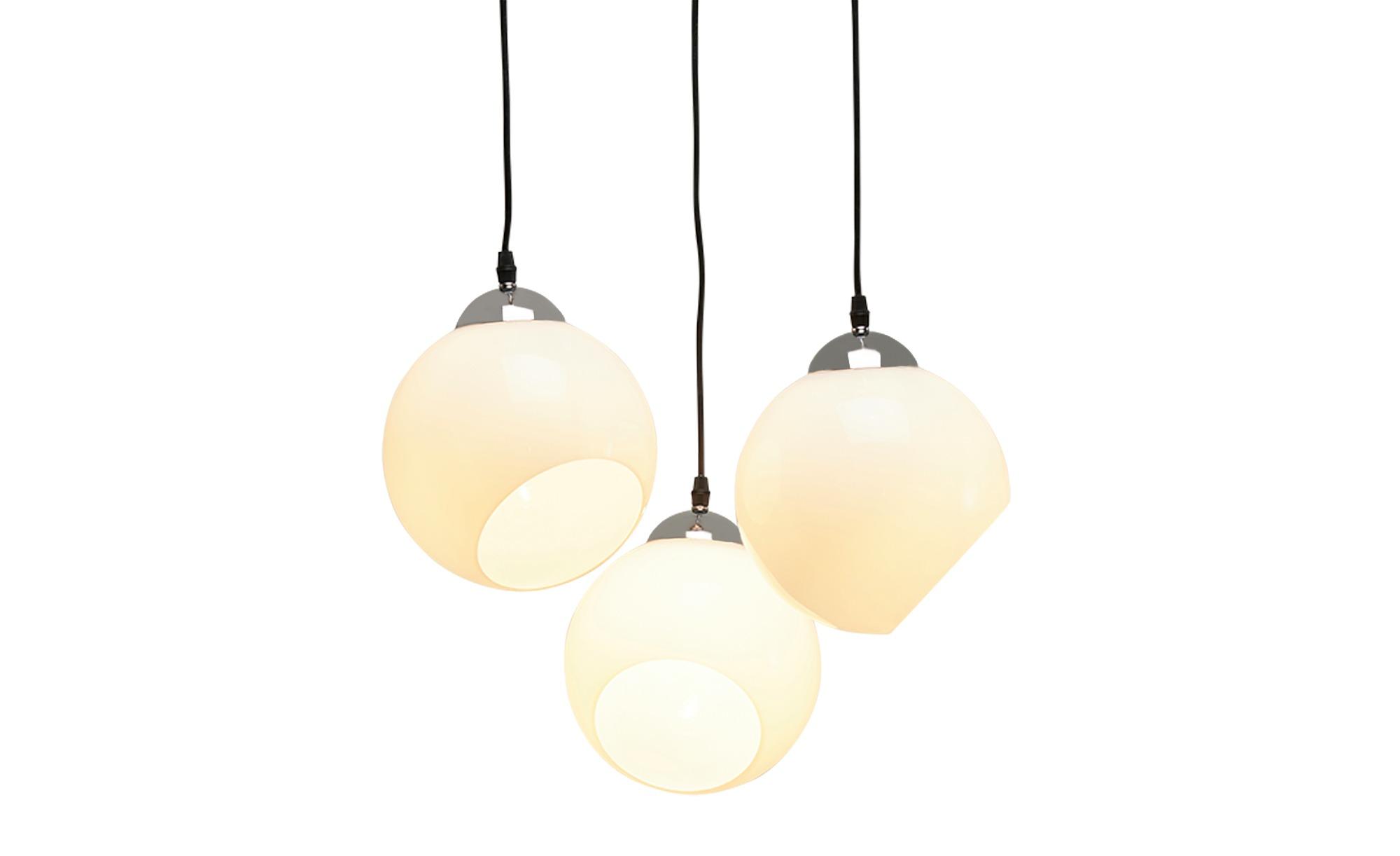 Pendelleuchte, 3-flammig, chrom mit weißen Glaskugeln ¦ weiß ¦ Maße (cm): H: 150 Ø: 35 Lampen & Leuchten > Innenleuchten > Pendelleuchten - Höffner