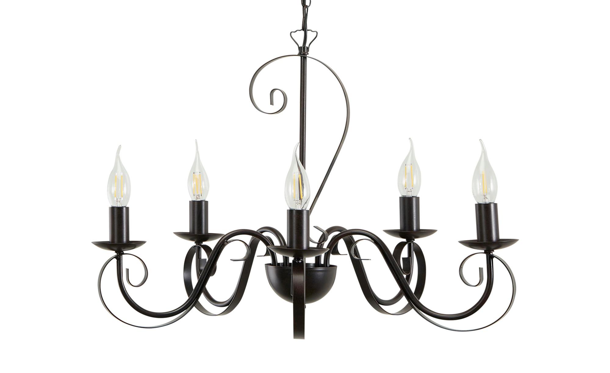 Kronleuchter, 5-flammig, schwarz/rost ¦ schwarz ¦ Maße (cm): H: 47 Ø: 60 Lampen & Leuchten > Innenleuchten > Kronleuchter - Höffner