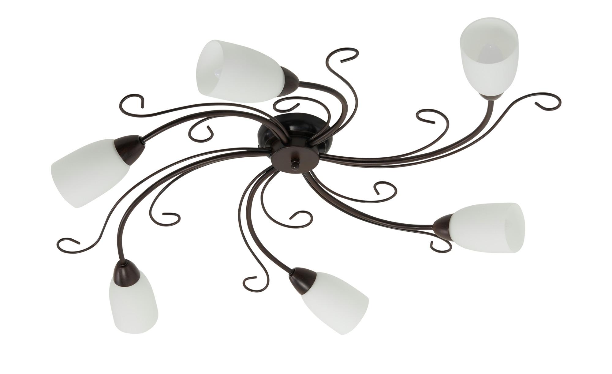 Deckenleuchte, 6-flammig, schwarz/rostfarben ¦ schwarz ¦ Maße (cm): B: 65 H: 12 Lampen & Leuchten > Innenleuchten > Deckenleuchten - Höffner