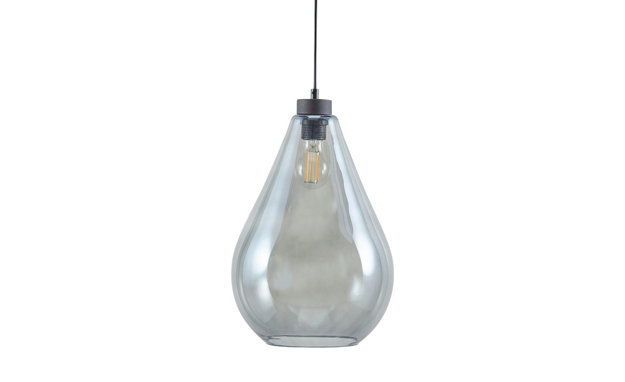 Pendelleuchte, 1-flammig, schwarz/Glas graphitfarben ¦ schwarz ¦ Maße (cm): H: 130 Ø: 24 Lampen & Leuchten > Innenleuchten > Pendelleuchten - Höffner