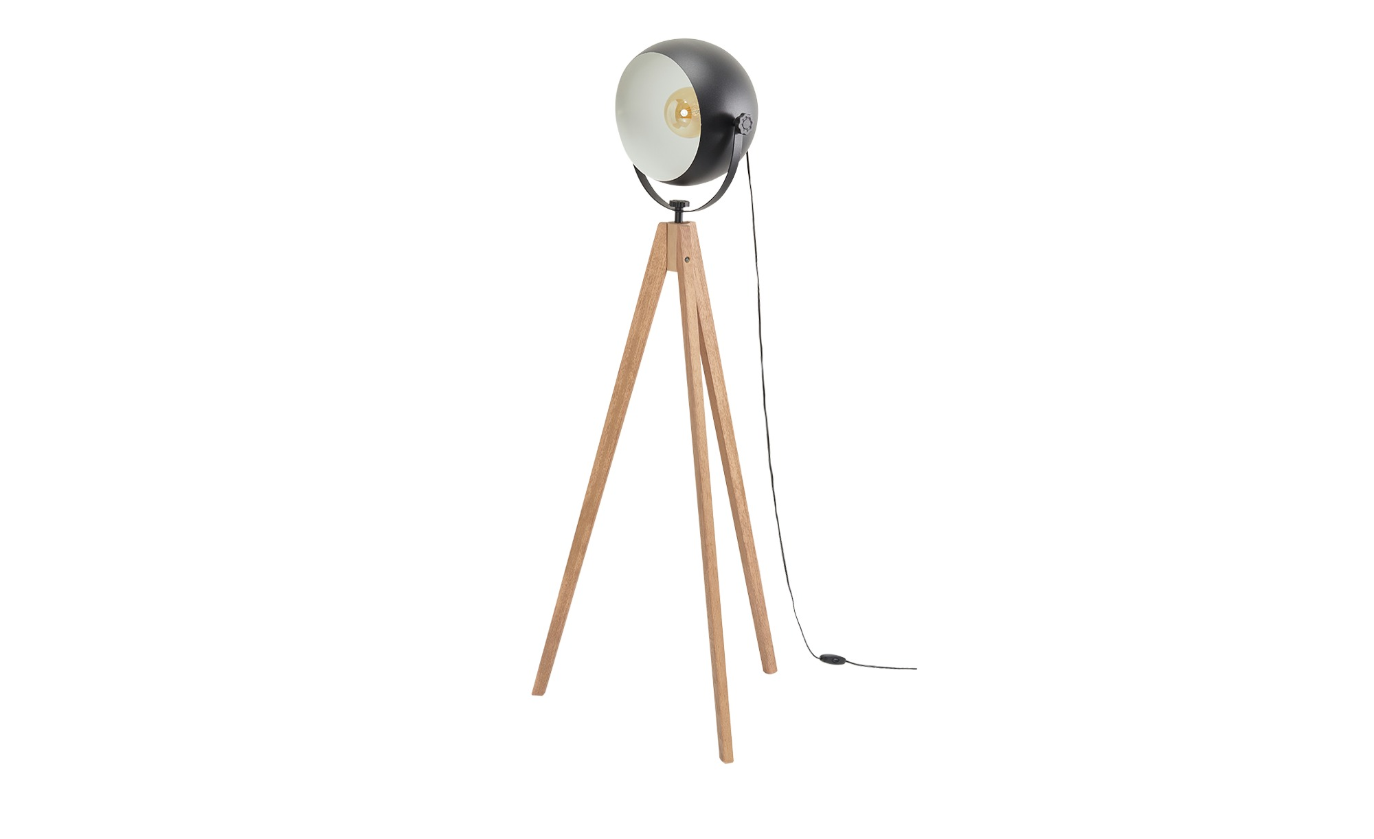 Stehleuchte, 1-flammig, Eiche/ Metall schwarz ¦ holzfarben ¦ Maße (cm): H: 130 Ø: 33 Lampen & Leuchten > Innenleuchten > Stehlampen - Höffner