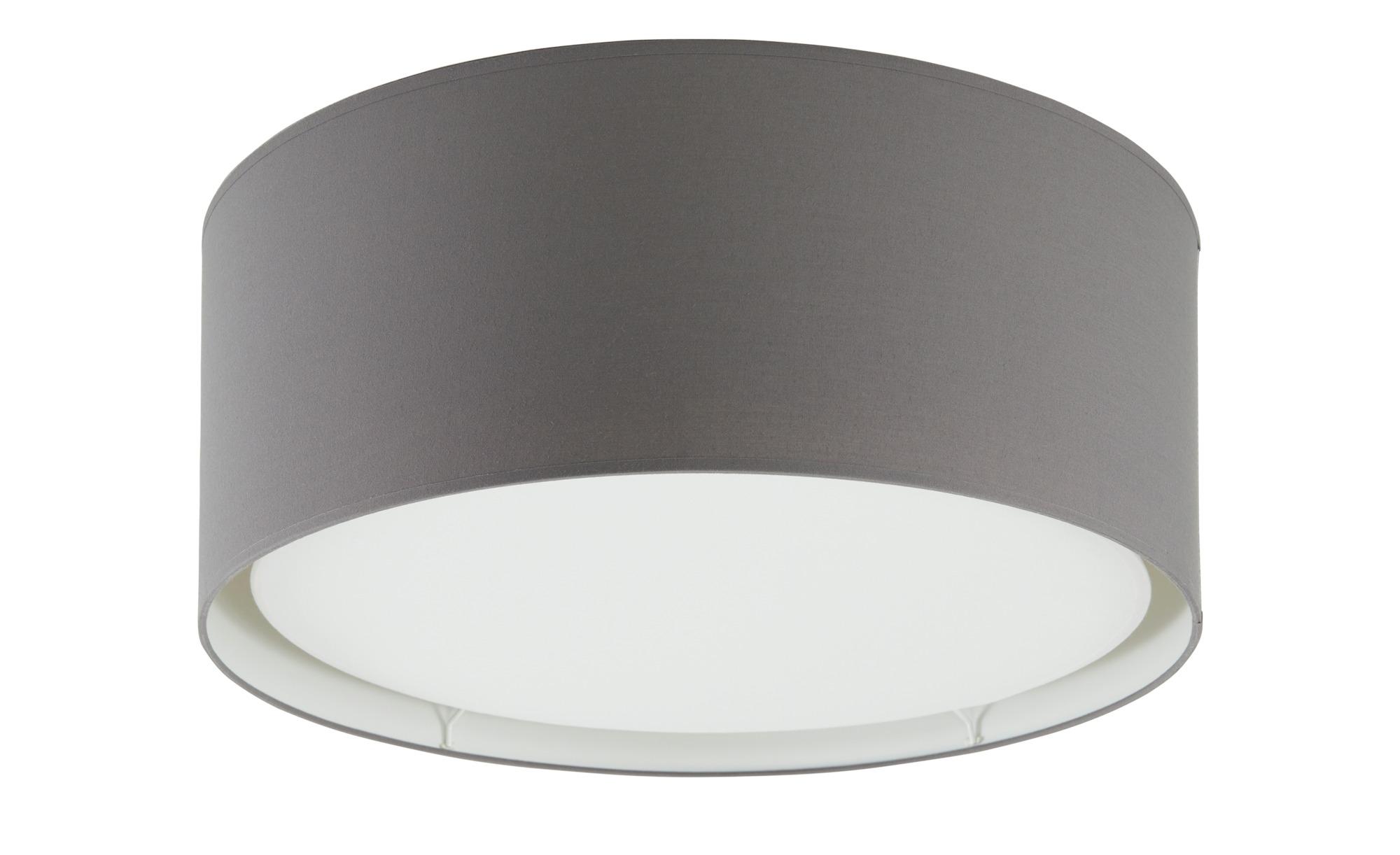 Deckenleuchte, 1-flammig, Stoffschirm grau ¦ grau ¦ Maße (cm): H: 20 Ø: 50 Lampen & Leuchten > Innenleuchten > Deckenleuchten - Höffner