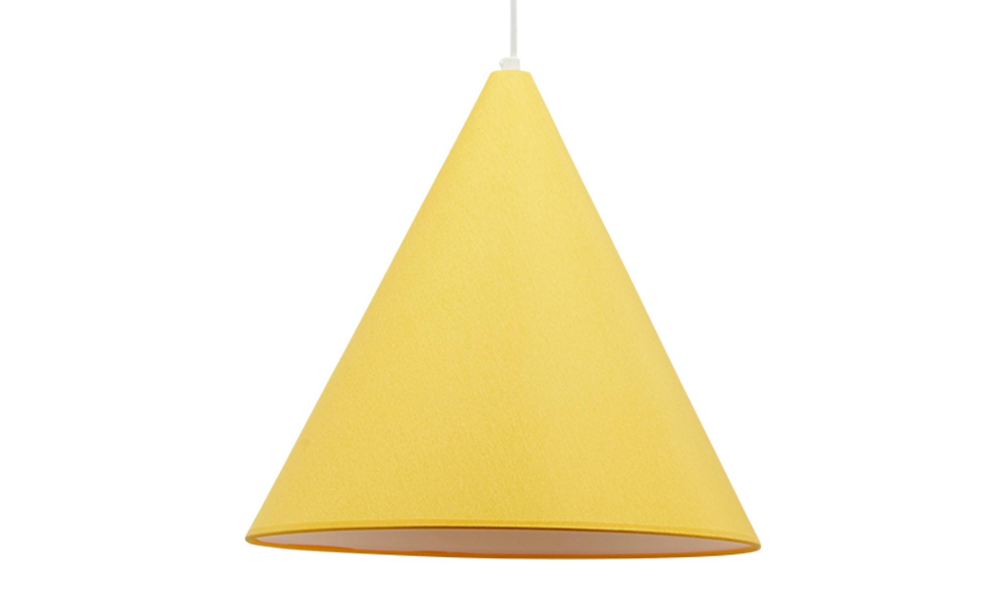 Pendelleuchte, 1-flammig, Stoffschirm gelb ¦ gelb ¦ Maße (cm): H: 35 Ø: 32 Lampen & Leuchten > Innenleuchten > Pendelleuchten - Höffner