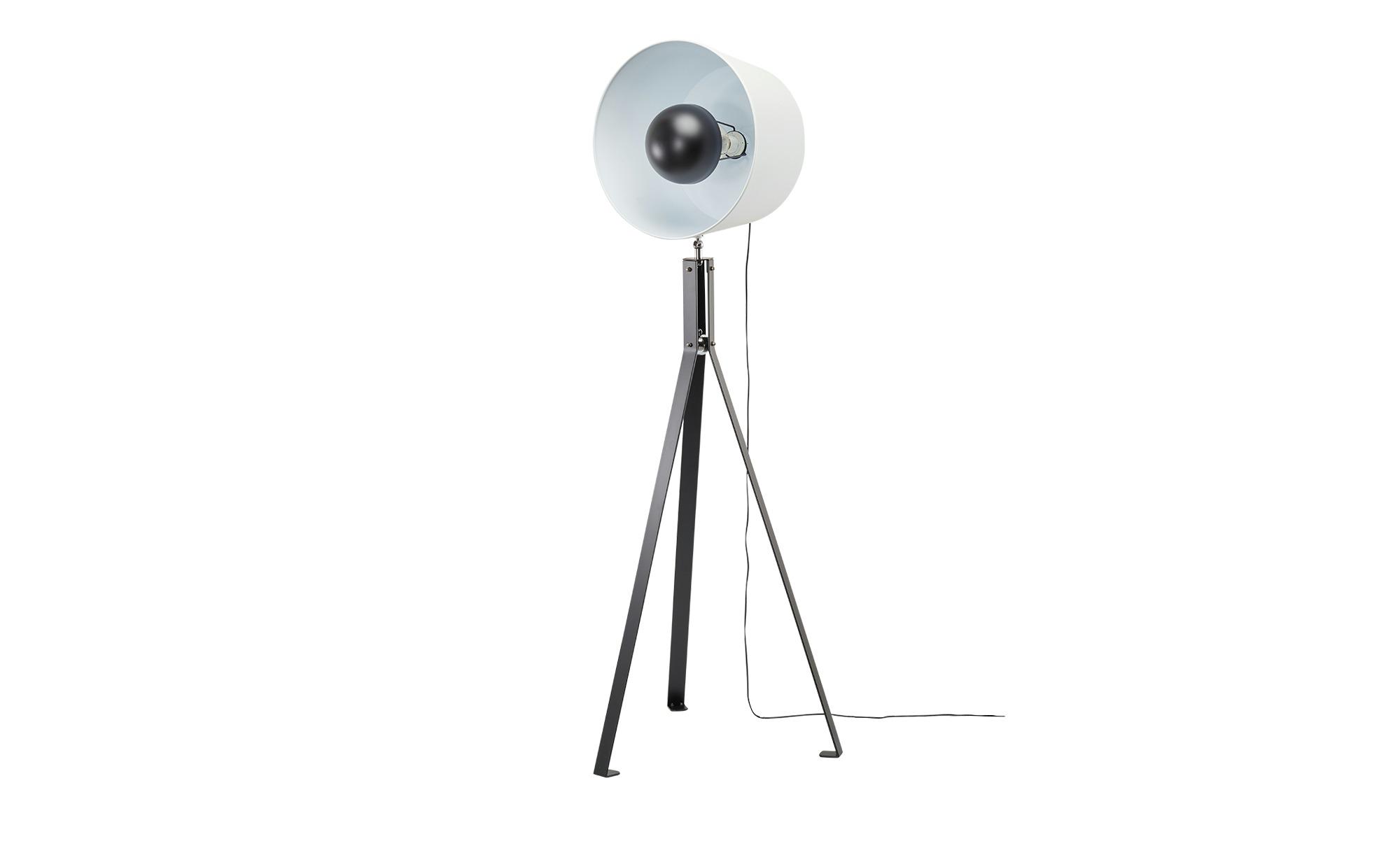 HOME STORY Dreibein-Stehleuchte, 1-flammig, schwarz / weiß ¦ schwarz ¦ Maße (cm): H: 163 Ø: 63 Lampen & Leuchten > Innenleuchten > Stehlampen - Höffner