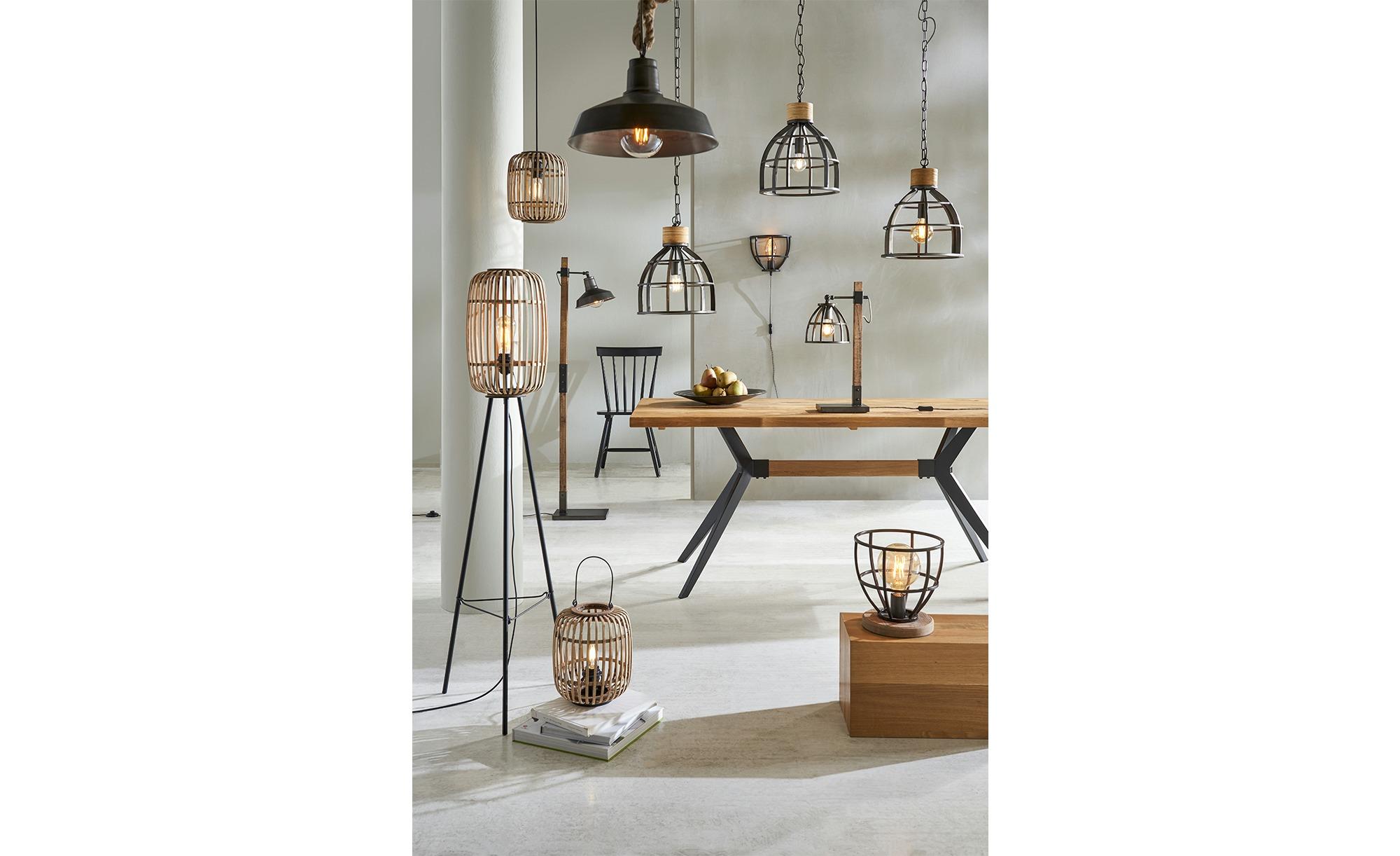 Tischleuchte, 1-flammig, Holz / Metall schwarz ¦ schwarz ¦ Maße (cm): H: 54 Ø: 17 Lampen & Leuchten > Innenleuchten > Tischlampen - Höffner