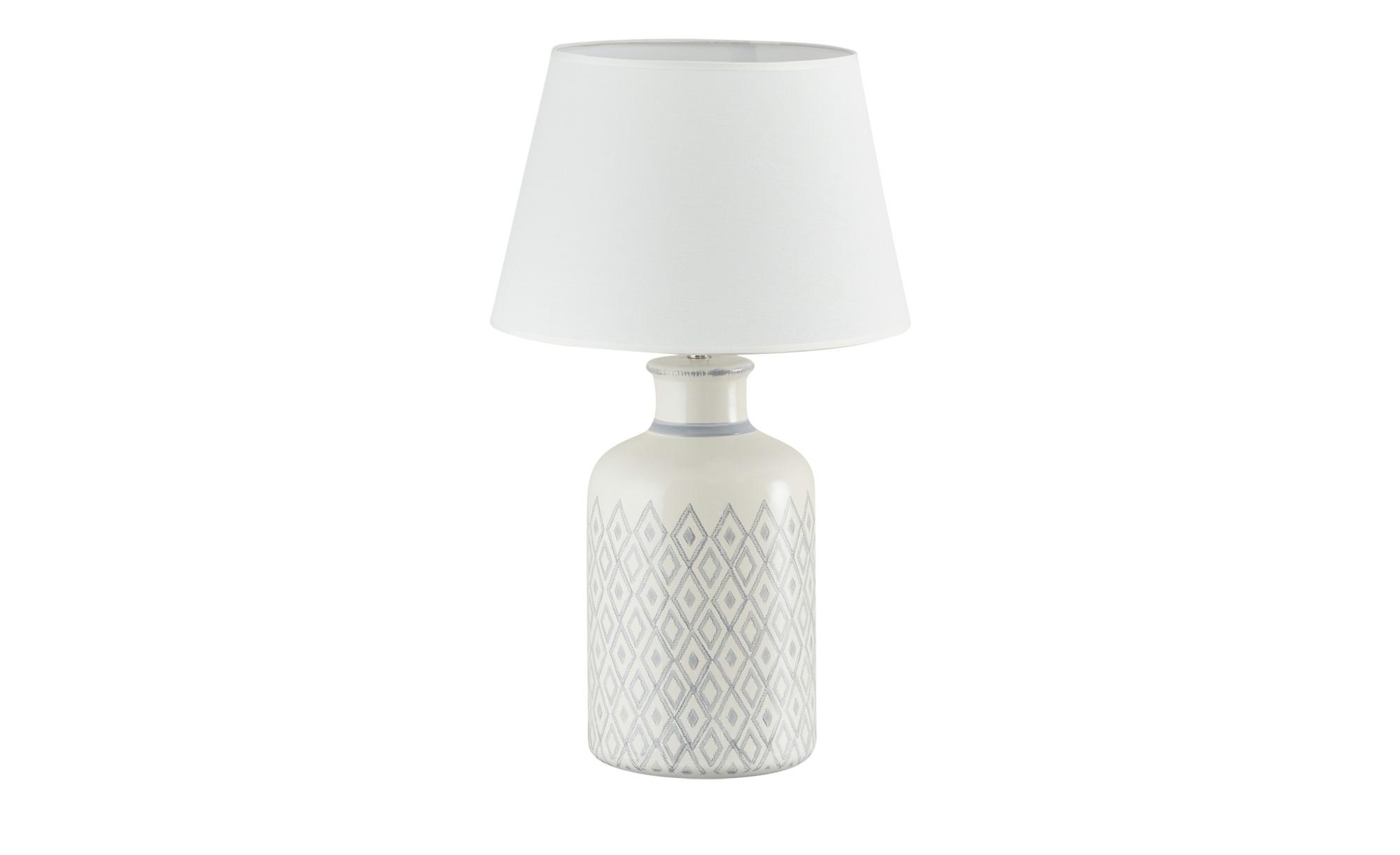 KHG Keramik-Tischleuchte, 1-flammig, grau/ Handbemalt ¦ grau ¦ Maße (cm): H: 61 Ø: 35 Lampen & Leuchten > Innenleuchten > Tischlampen - Höffner