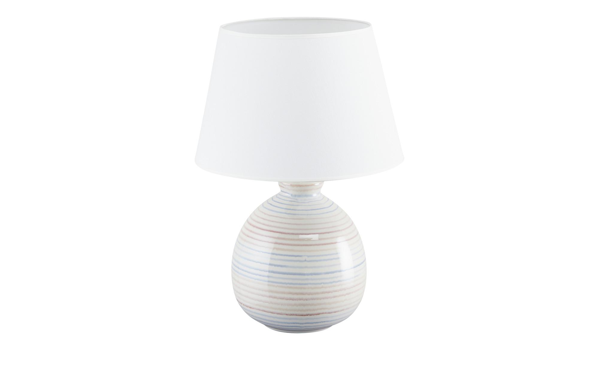 KHG Keramik-Tischleuchte, 1-flammig, bunt gestreift/ Handbemalt ¦ weiß ¦ Maße (cm): H: 51 Ø: 35 Lampen & Leuchten > Innenleuchten > Tischlampen - Höffner