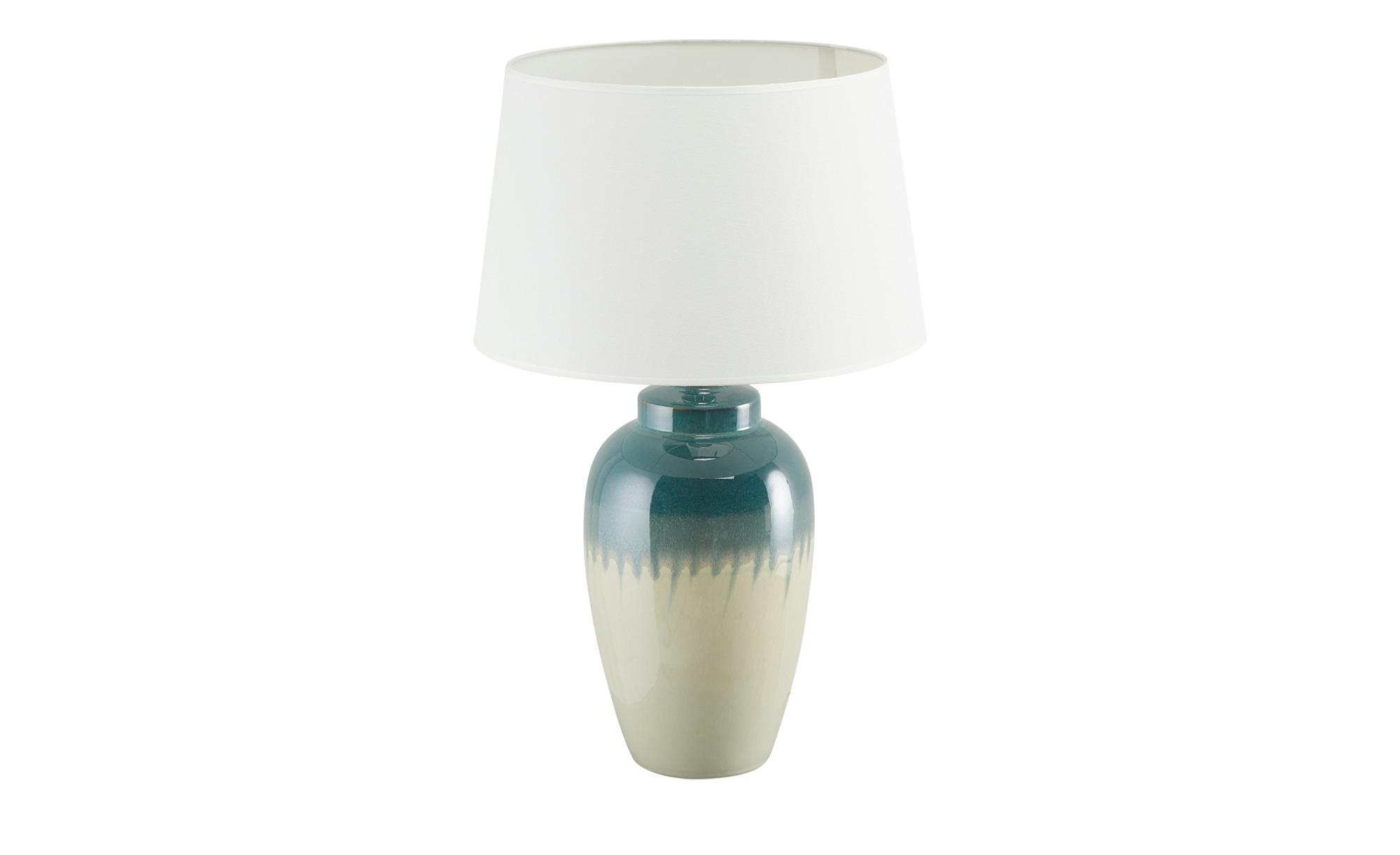 KHG Keramik-Tischleuchte, 1-flammig, blau/ Handbemalt groß ¦ blau ¦ Maße (cm): H: 63 Ø: 40 Lampen & Leuchten > Innenleuchten > Tischlampen - Höffner