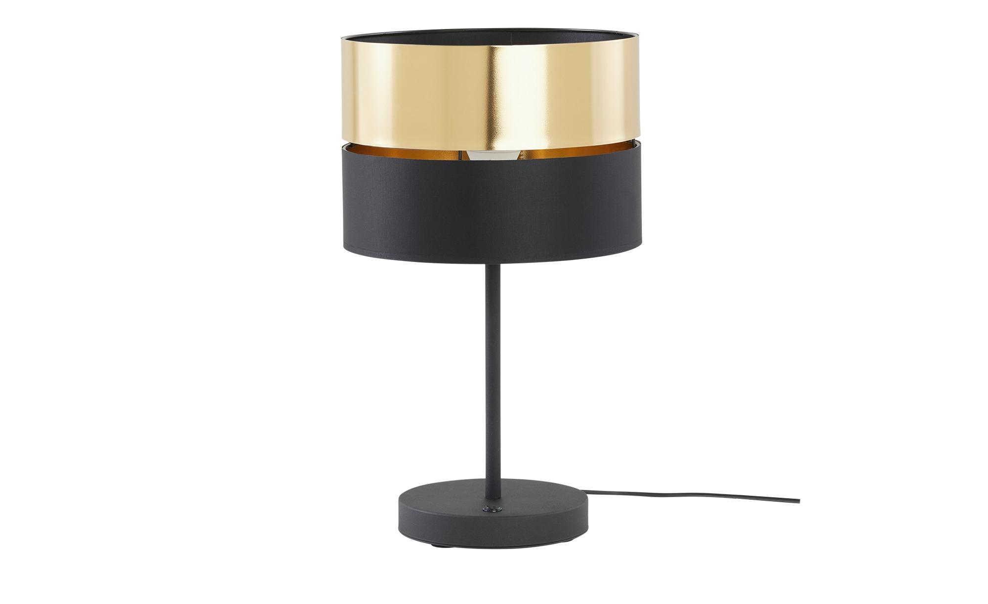 Tischleuchte, 1-flammig, schwarz/gold ¦ schwarz ¦ Maße (cm): H: 30 Ø: 30 Lampen & Leuchten > Innenleuchten > Tischlampen - Höffner