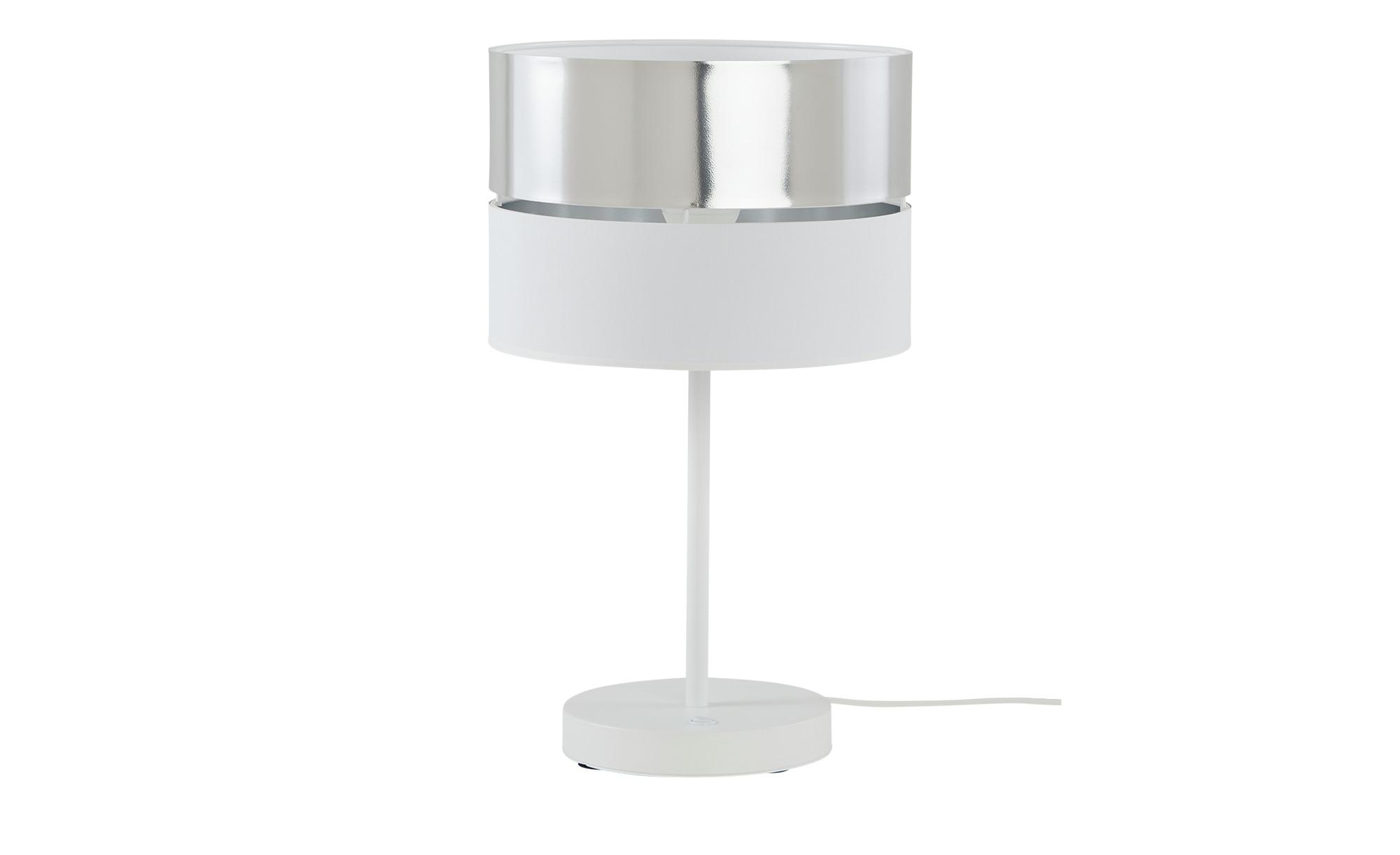 Tischleuchte, 1-flammig, weiß/silberfarben ¦ weiß ¦ Maße (cm): H: 30 Ø: 30 Lampen & Leuchten > Innenleuchten > Tischlampen - Höffner