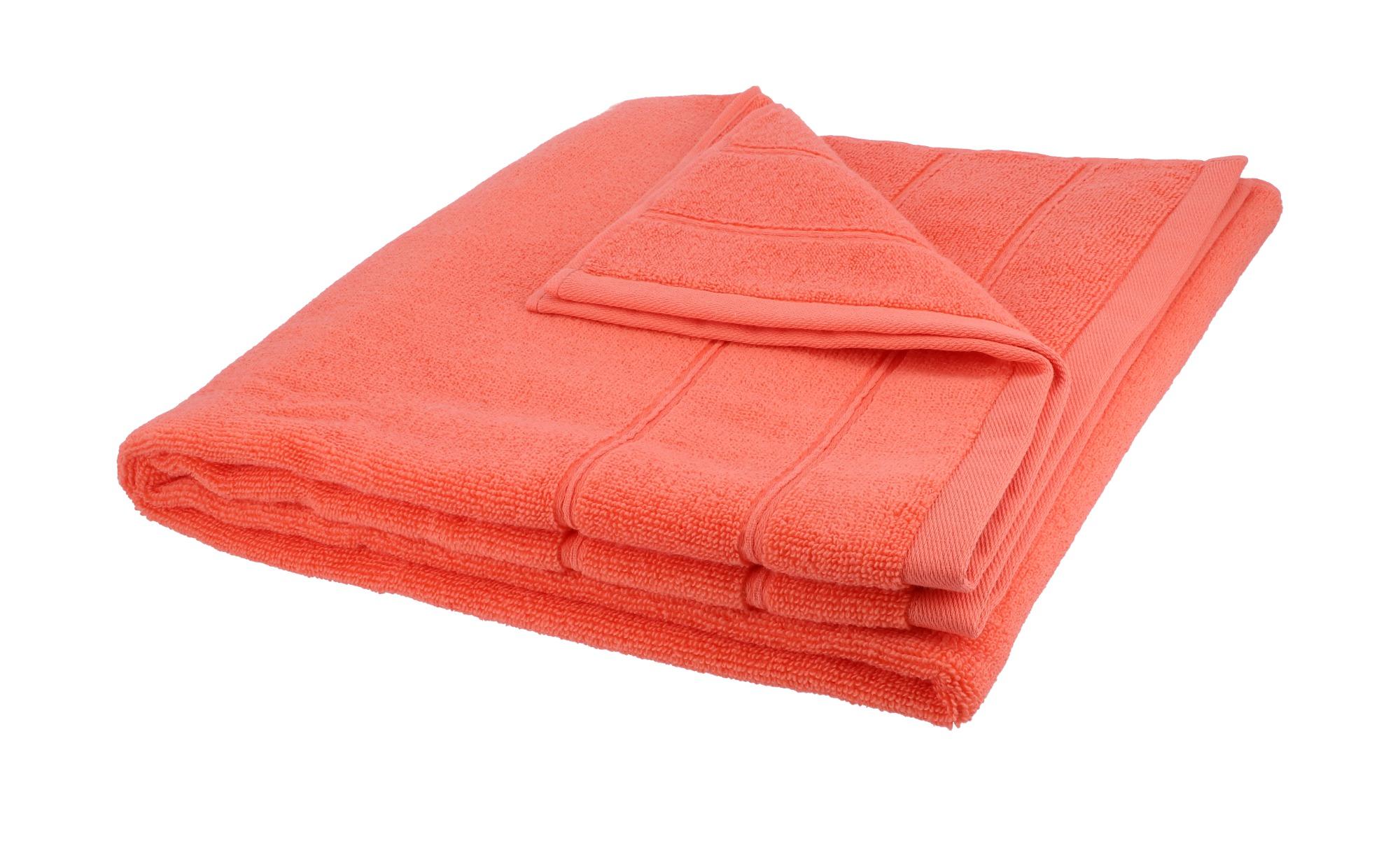 HOME STORY Duschtuch  Lifestyle ¦ orange ¦ reine Baumwolle ¦ Maße (cm): B: 70 Badtextilien und Zubehör > Handtücher & Badetücher > Duschtücher - Höffner