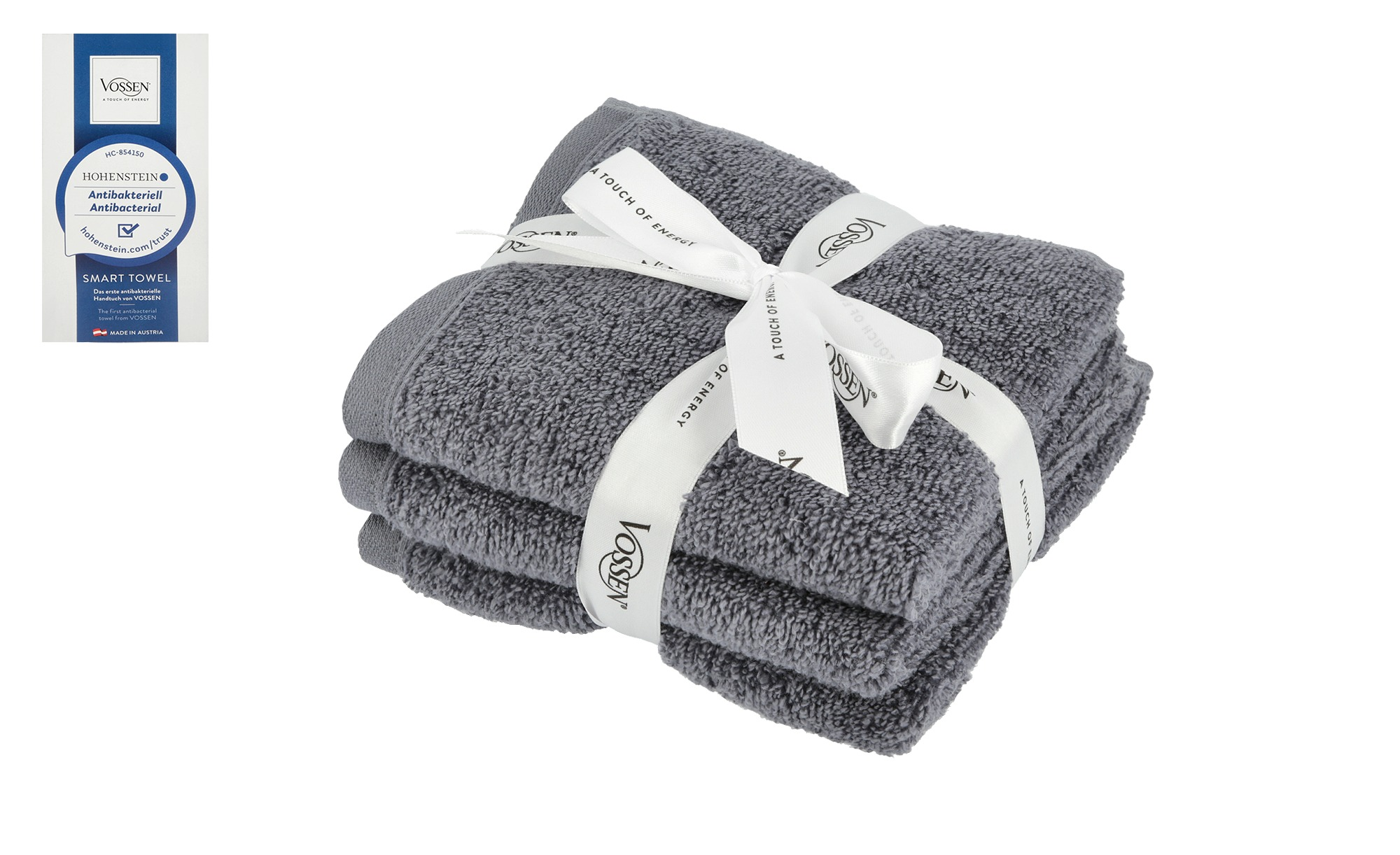 VOSSEN Gästetuch, 3er-Set  Smart Towel ¦ grau ¦ 100% Baumwolle Badtextilien und Zubehör > Handtücher & Badetücher > Gästetücher - Höffner