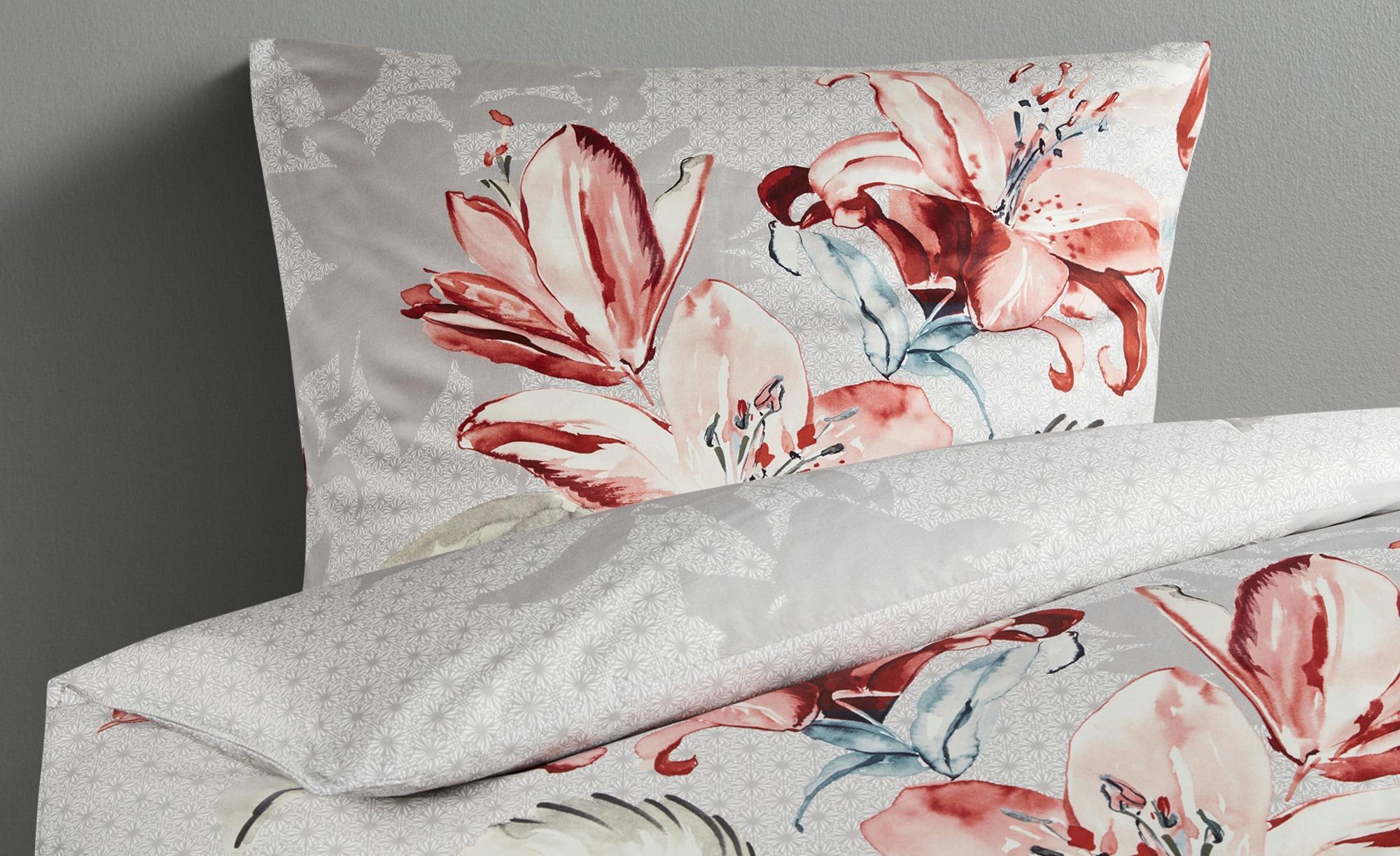 Belcampo Satin Bettwäsche  ED-284 Floral ¦ grau ¦ 100% Baumwolle ¦ Maße (cm): B: 135 Bettwaren > Bettwäsche-Sets > weitere Bettwäschesets - Höffner