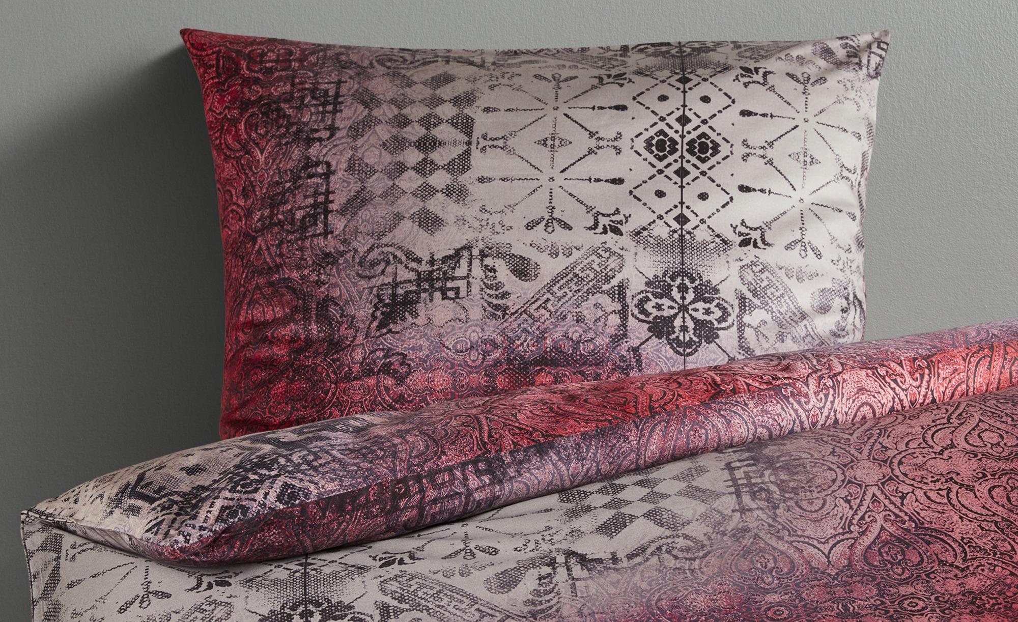 HOME STORY Satin Bettwäsche  ED-244 Ornament ¦ rot ¦ 100% Baumwolle ¦ Maße (cm): B: 135 Bettwaren > Bettwäsche-Sets > weitere Bettwäschesets - Höffner