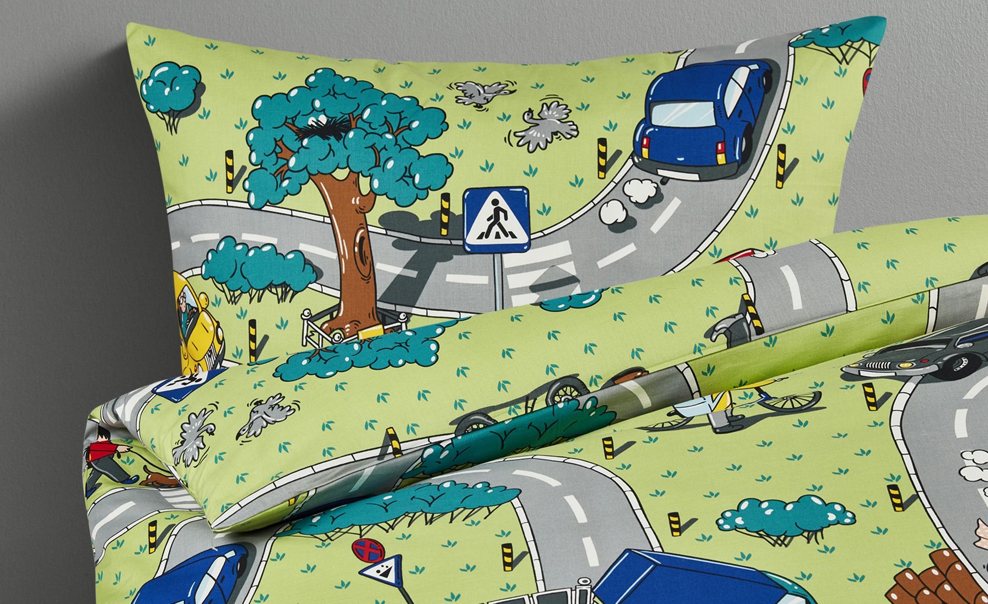 for friends Renforcé Bettwäsche  Straßenverkehr ¦ grün ¦ reine Baumwolle ¦ Maße (cm): B: 135 Bettwaren > Bettwäsche-Sets > Kinder-Bettwäsche-Sets - Höffner