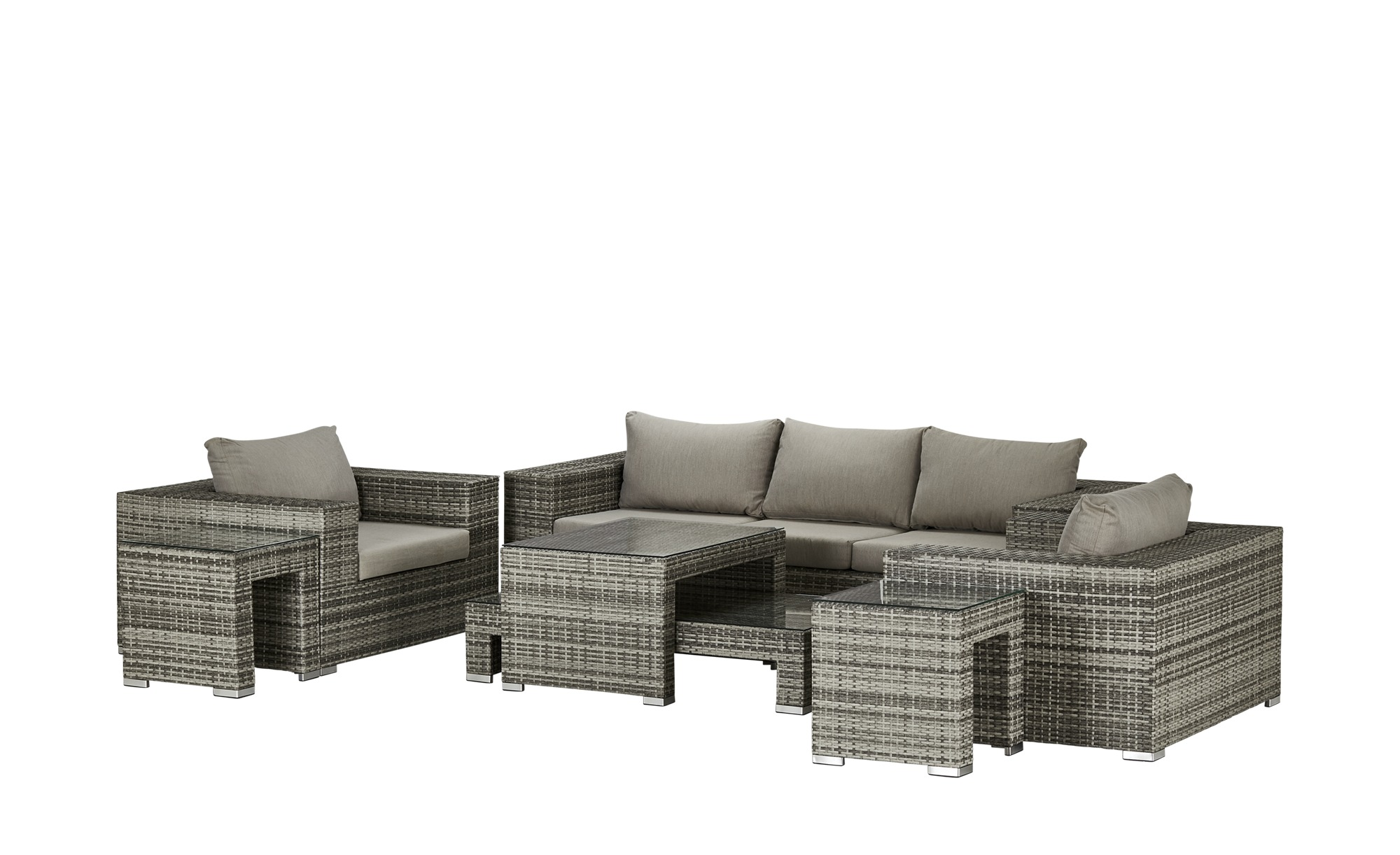 a casa mia Geflecht-Lounge  Milano ¦ grau ¦ Stahl pulverbeschichtet/PE-Geflecht Garten > Gartenmöbel nach Materialien > Polyrattan-Gartenmöbel - Höffner