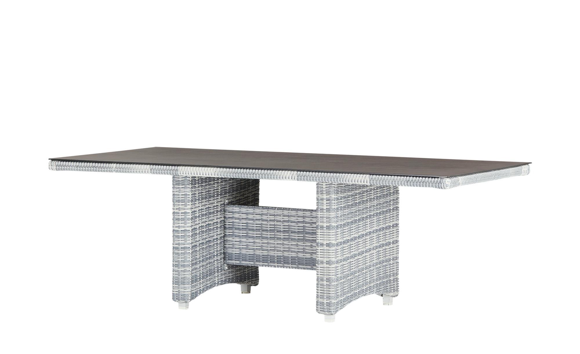 a casa mia Dining Tisch   Padua ¦ grau ¦ Aluminium pulverbeschichtet/ PE-Geflecht ¦ Maße (cm): B: 100 H: 74 Garten > Gartenmöbel > Gartentische - Höffner