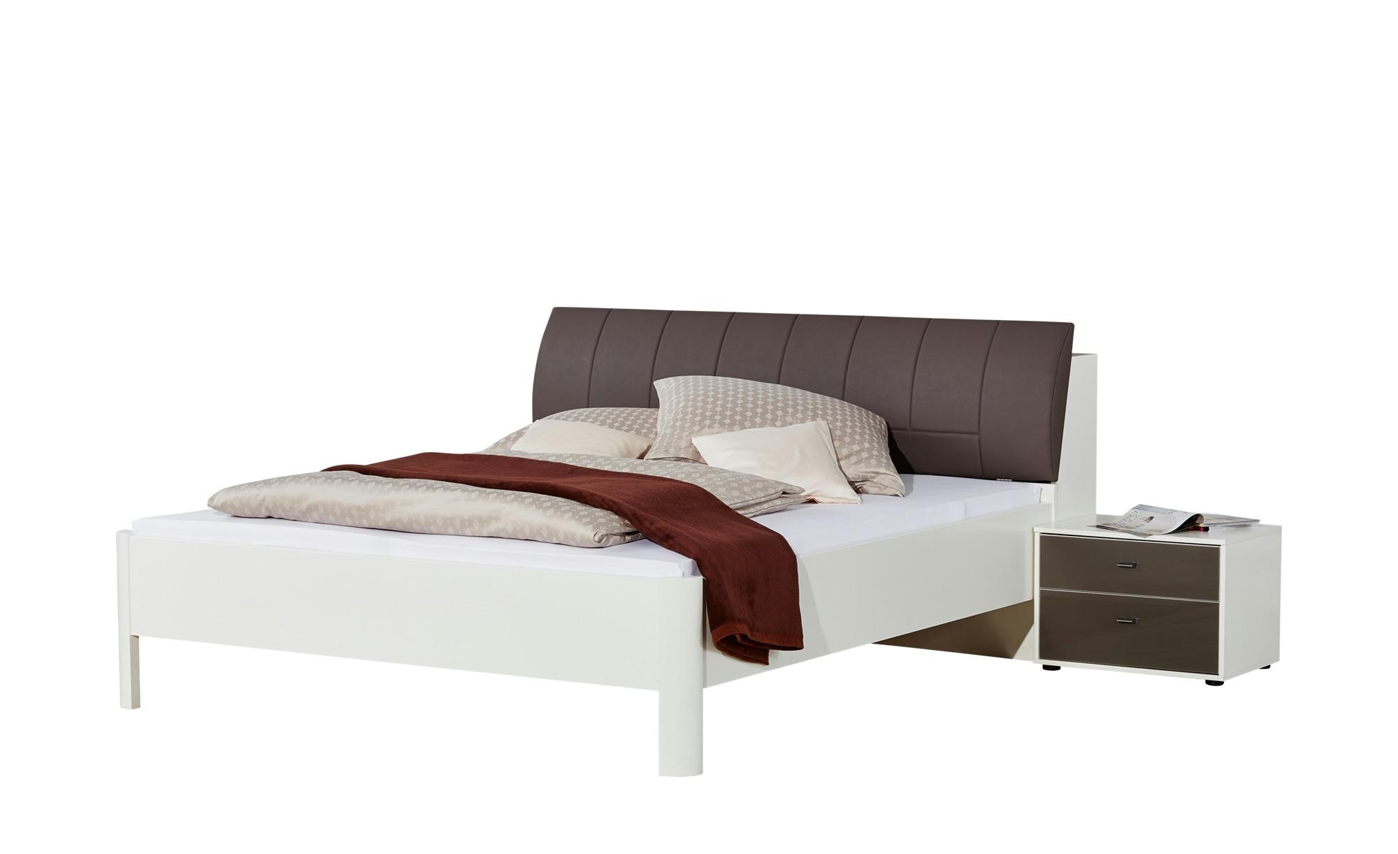 Wohnwert Bettanlage 3-teilig 180x200 - weiß/braun Soria ¦ weiß ¦ Maße (cm): B: 191 H: 98 Betten > Futonbetten - Höffner