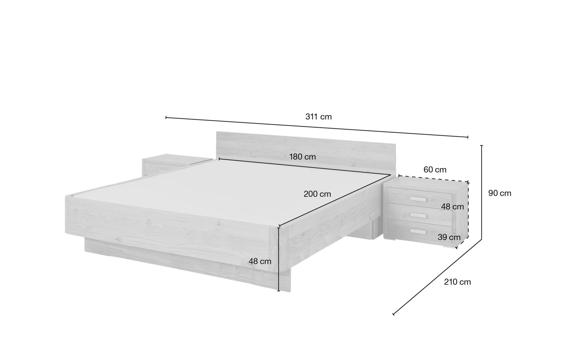 Wohnwert Bettanlage 3-teilig 180x200 - Eiche Trento ¦ holzfarben ¦ Maße (cm): B: 191 H: 90 Betten > Futonbetten - Höffner
