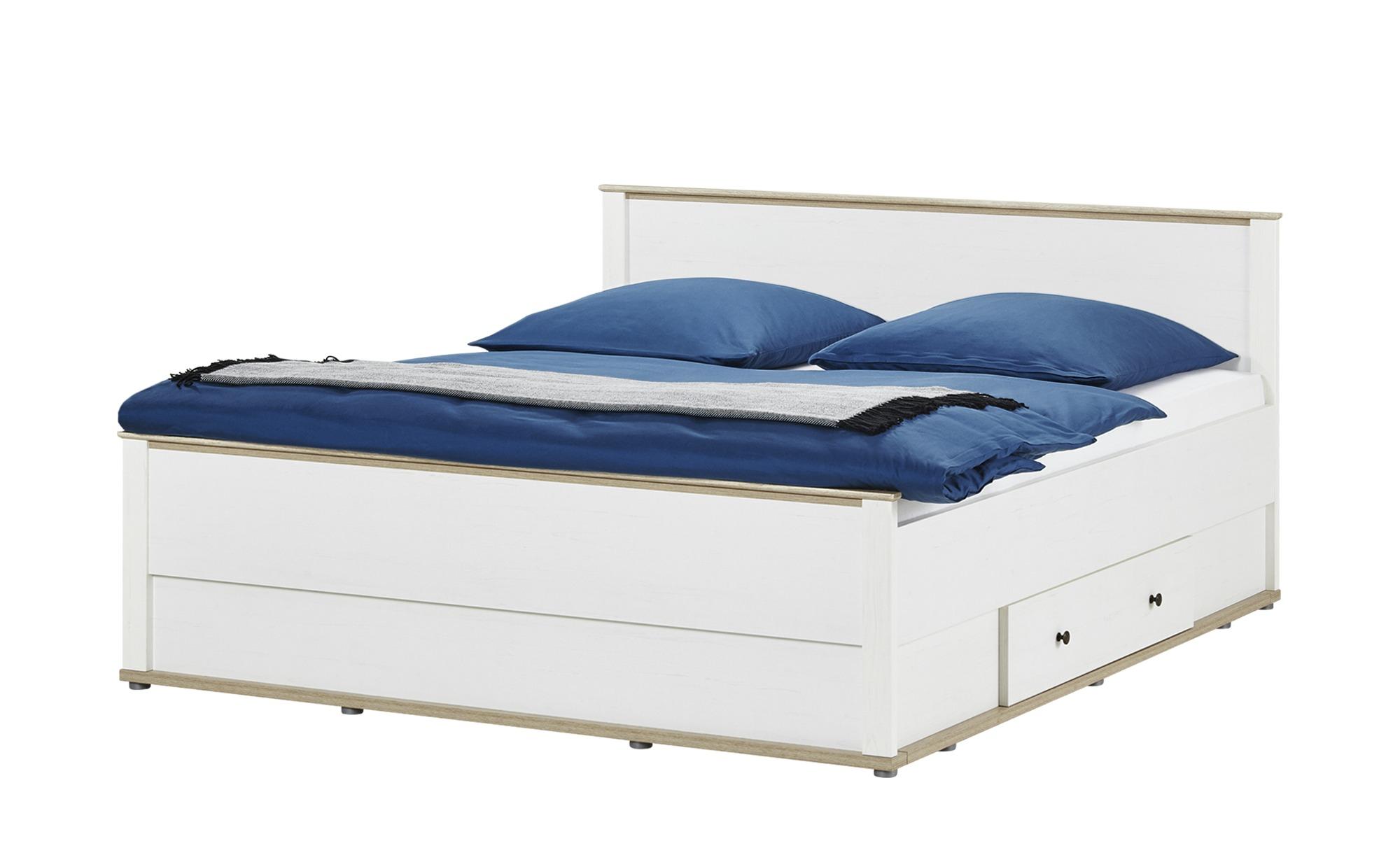 Doppelbett 180x200 - weiß - Lärche/Eiche (Optik) Carmen ¦ weiß ¦ Maße (cm): B: 188 H: 96 T: 206,5 Betten > Futonbetten - Höffner