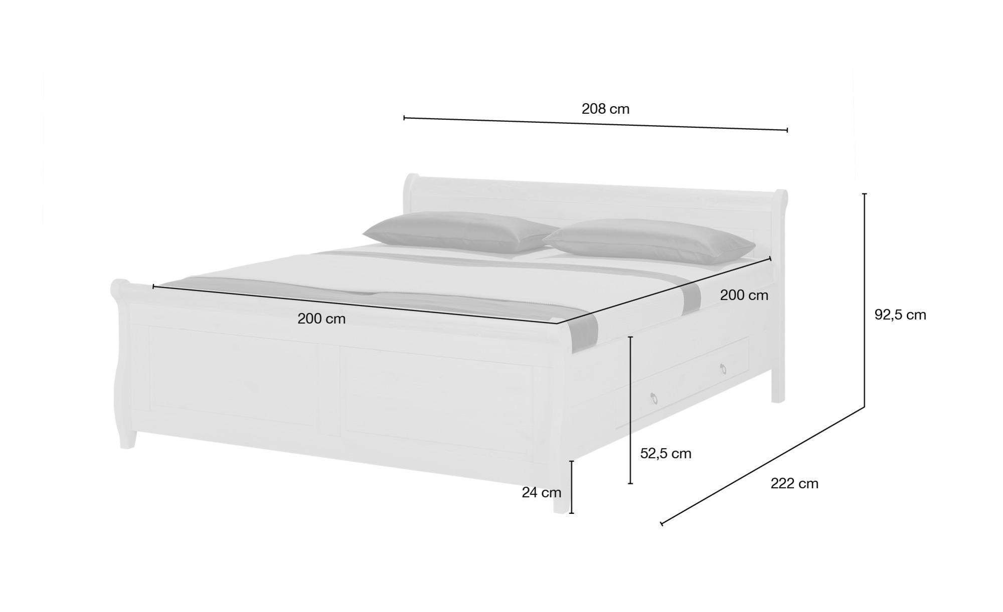 Bettgestell 200x200 Weiß Kiefer Landhaus Stil Bornholm
