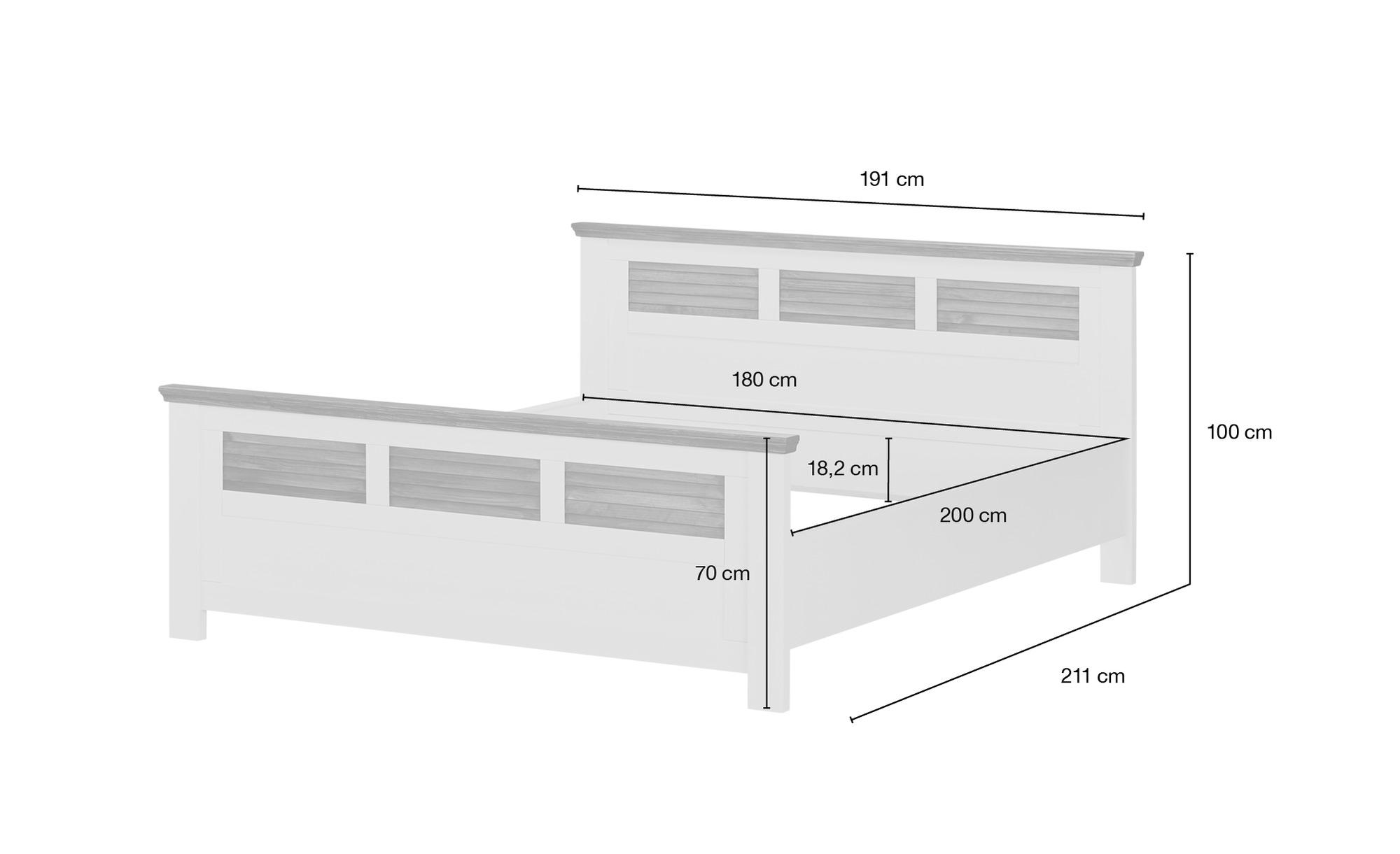 Doppelbettgestell 180x200 - weiß/braun - Pinie - Landhaus-Stil Laguna ¦ weiß ¦ Maße (cm): B: 191 H: 100 T: 211 Betten > Futonbetten - Höffner