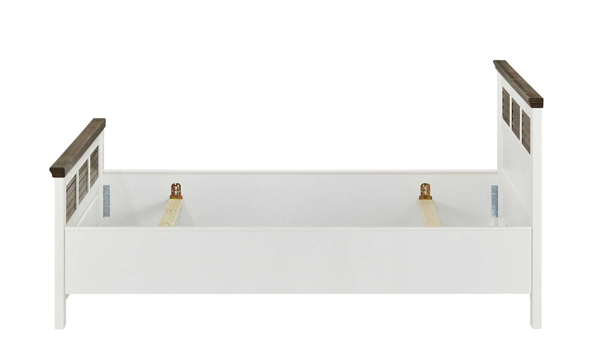Doppelbettgestell 160x200 - weiß/braun - Pinie - Landhaus-Stil Laguna ¦ weiß ¦ Maße (cm): B: 171 H: 100 T: 211 Betten > Futonbetten - Höffner