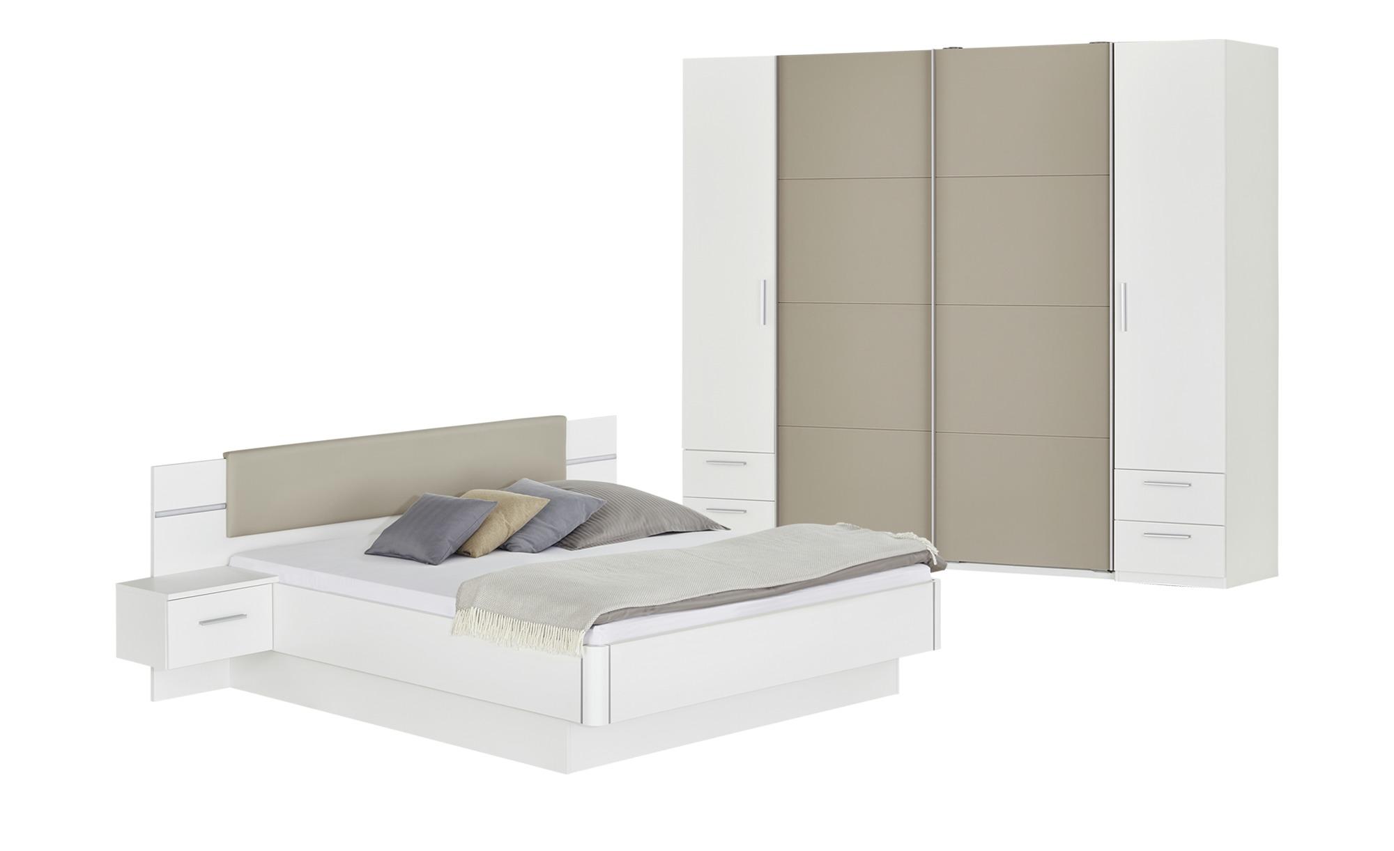 uno Komplett-Schlafzimmer 4-teilig mit Beleuchtung Miami ¦ weiß ...