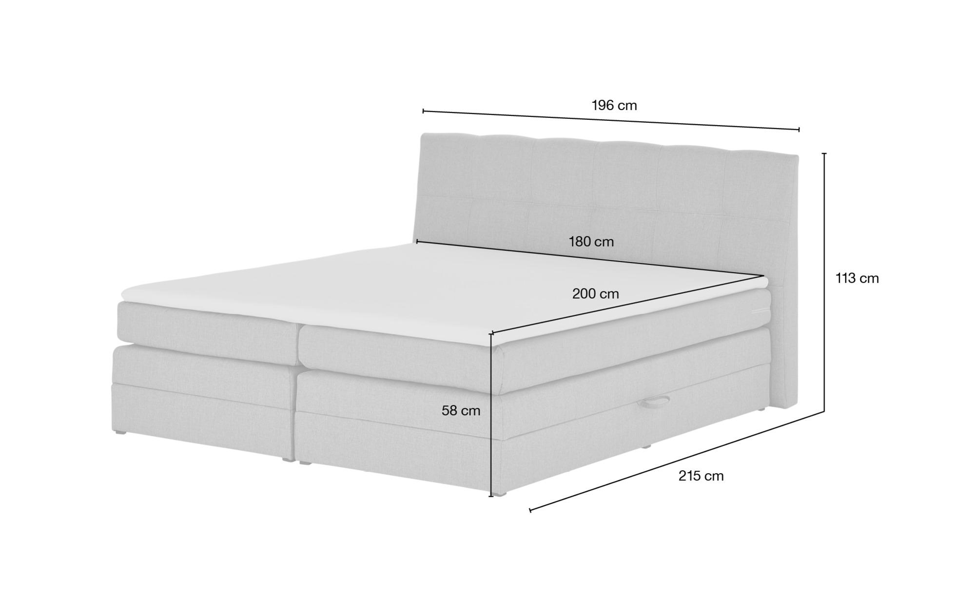 uno Boxspringbett  Saranda ¦ Maße (cm): B: 196 H: 113 Betten > Boxspringbetten > Boxspringbetten 180x200 - Höffner