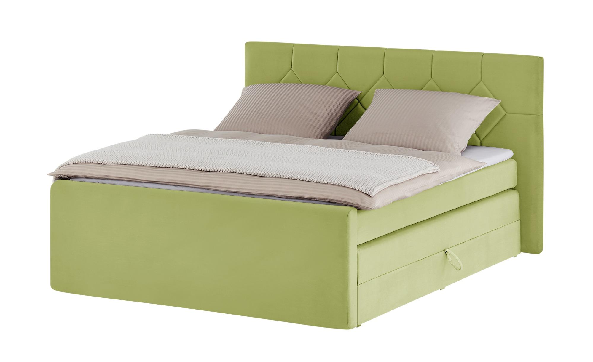 Boxspringbett  Empress ¦ grün ¦ Maße (cm): B: 200 H: 115 T: 221 Betten > Boxspringbetten > Boxspringbetten 180x200 - Höffner