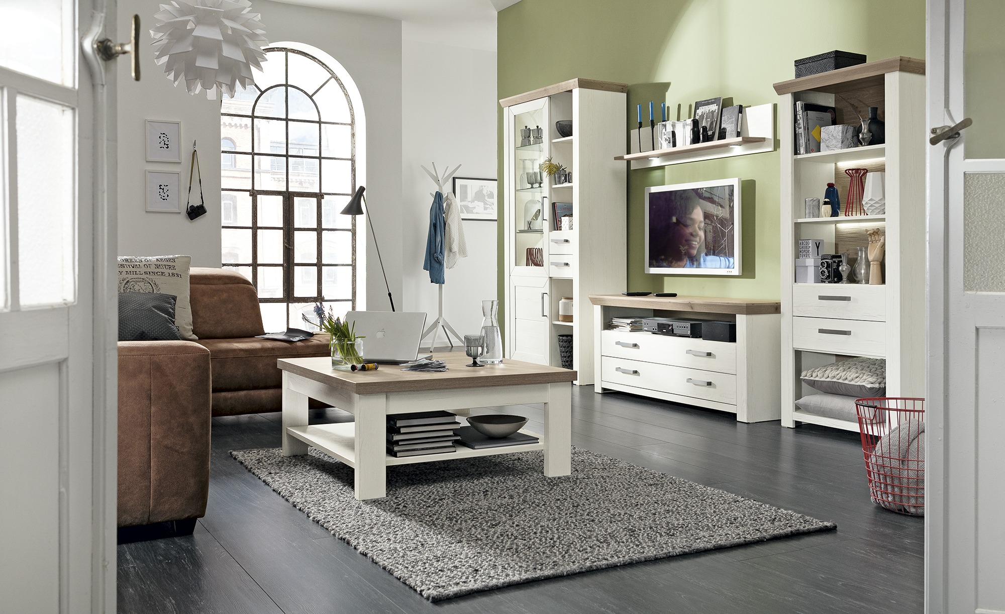 set one by musterring wohnwand york standregal rechts. Black Bedroom Furniture Sets. Home Design Ideas